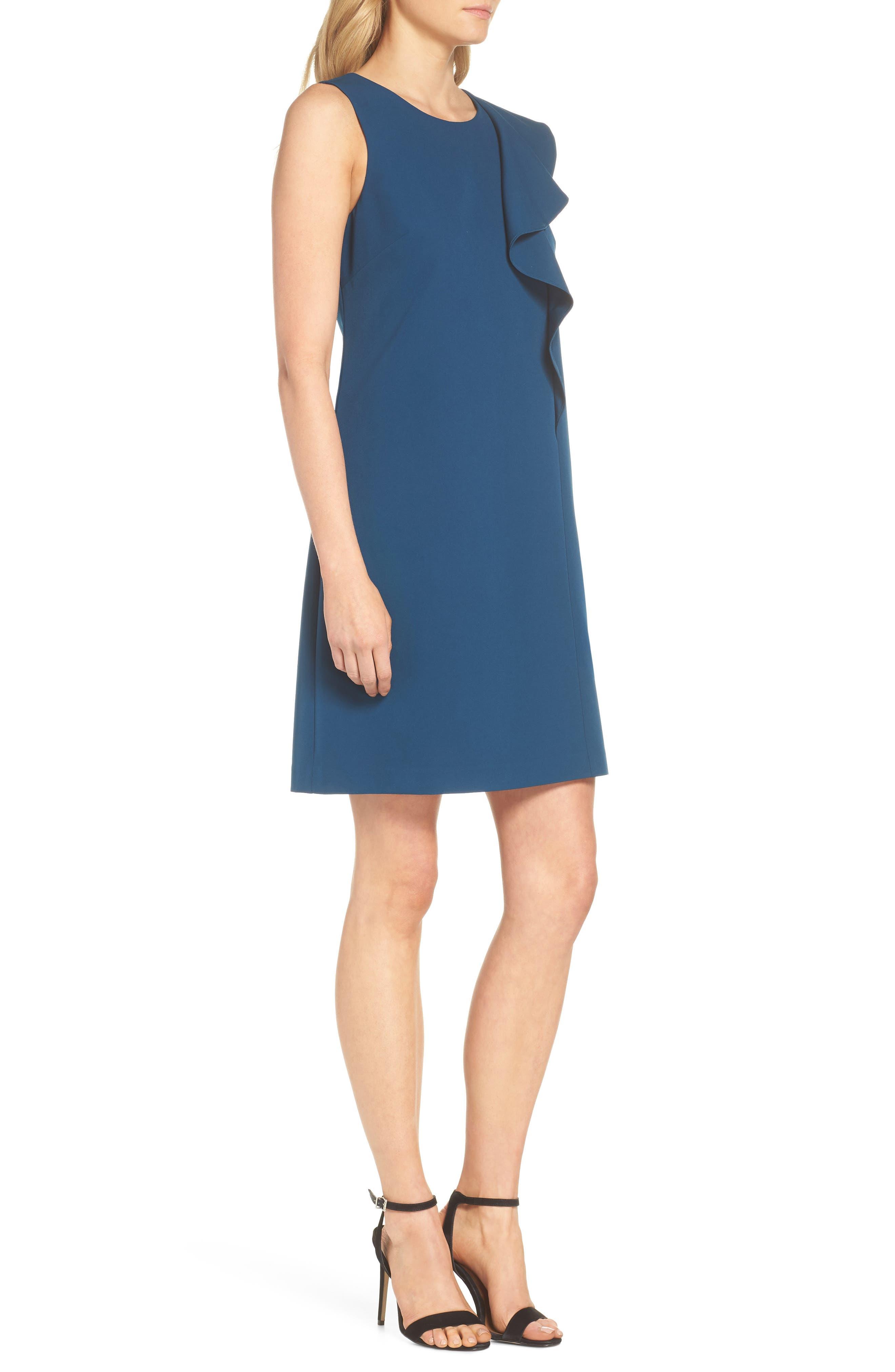 Ruffle Crepe A-Line Dress,                             Alternate thumbnail 3, color,                             Deep Teal