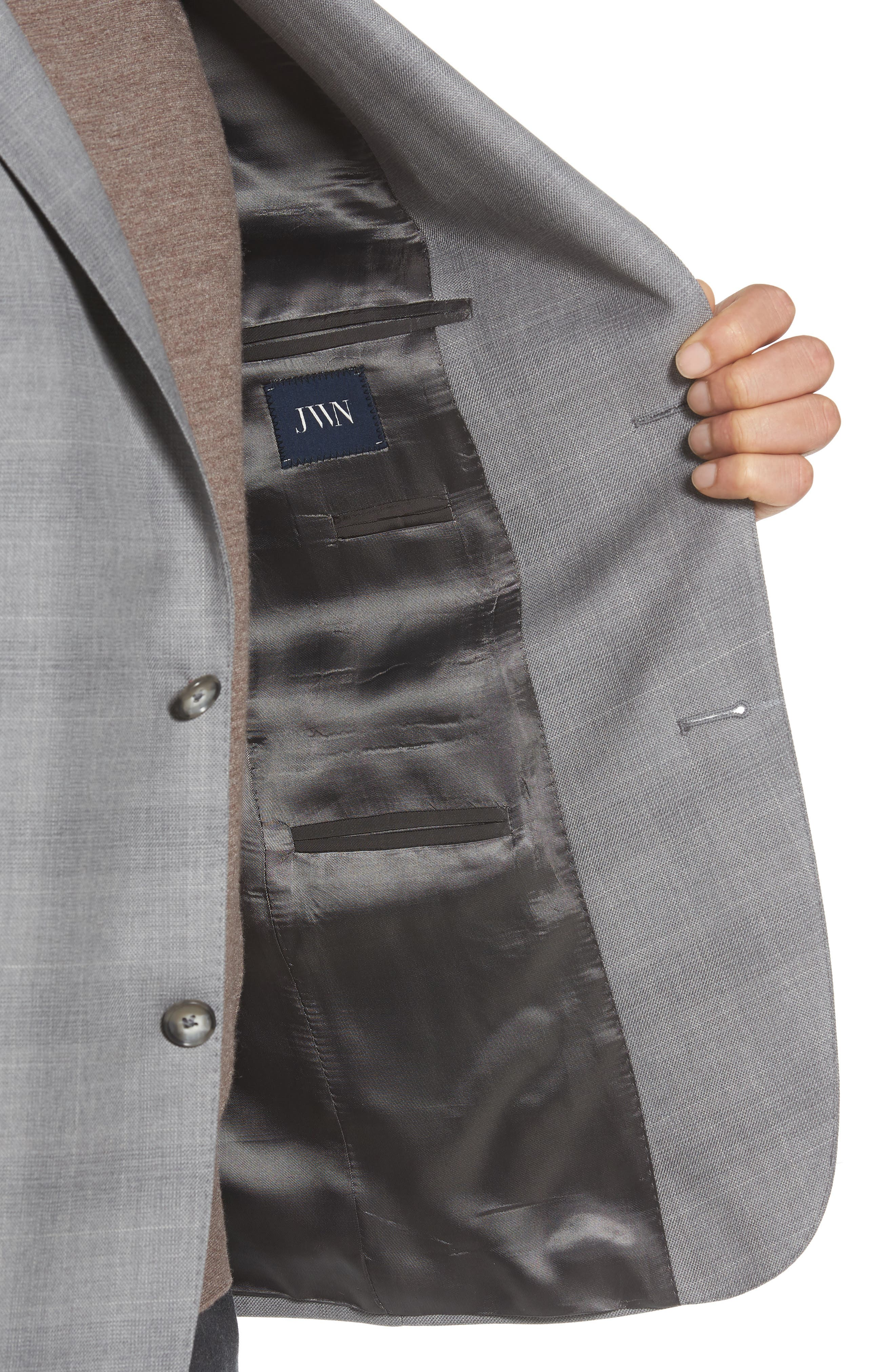 Traditional Fit Windowpane Wool Sport Coat,                             Alternate thumbnail 4, color,                             Grey