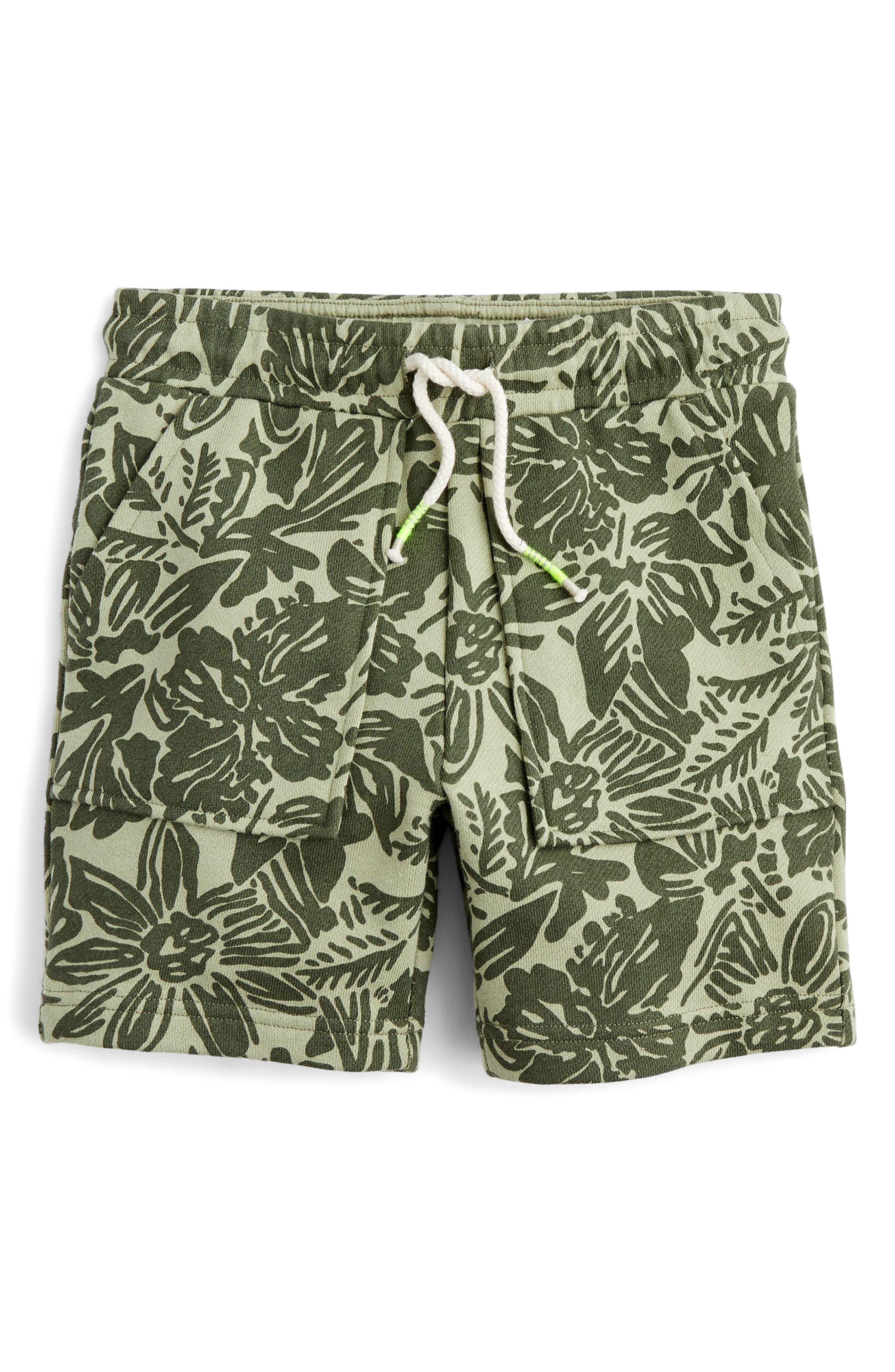 Print Knit Shorts,                             Main thumbnail 1, color,                             Olive Fatigue