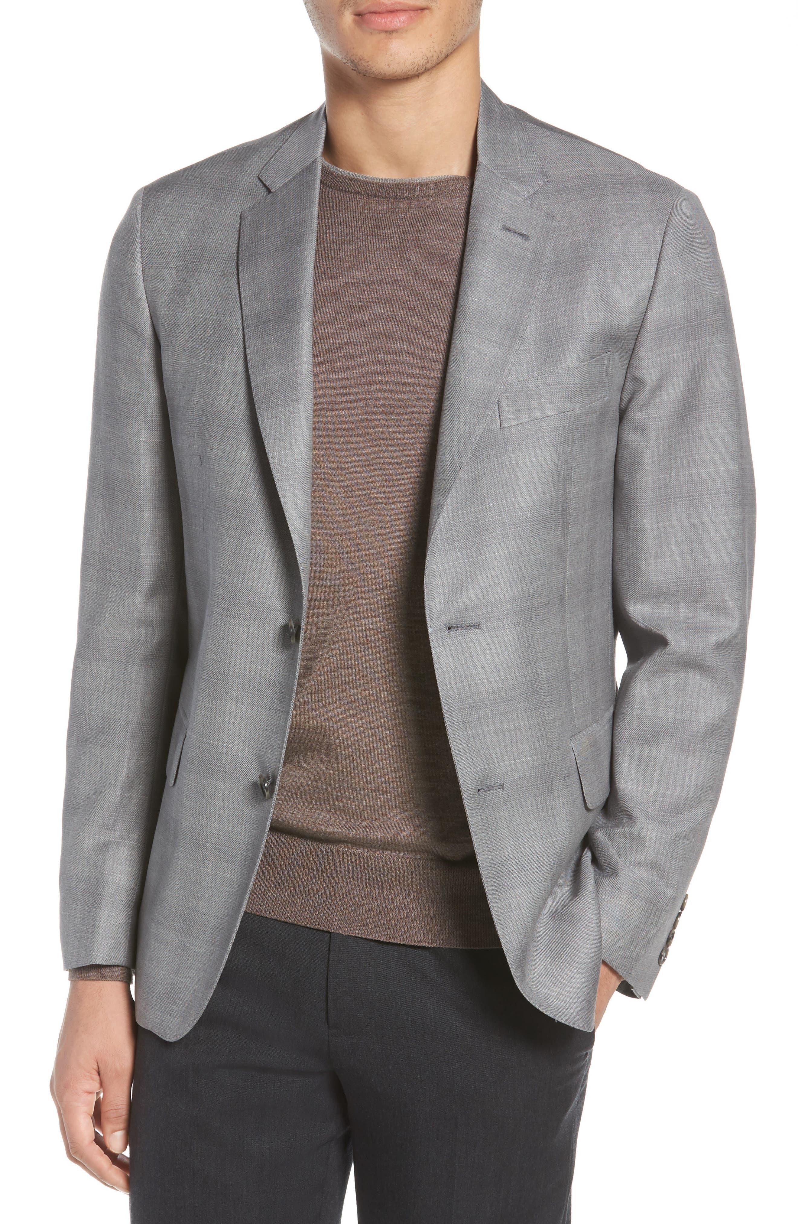 Traditional Fit Windowpane Wool Sport Coat,                             Main thumbnail 1, color,                             Grey