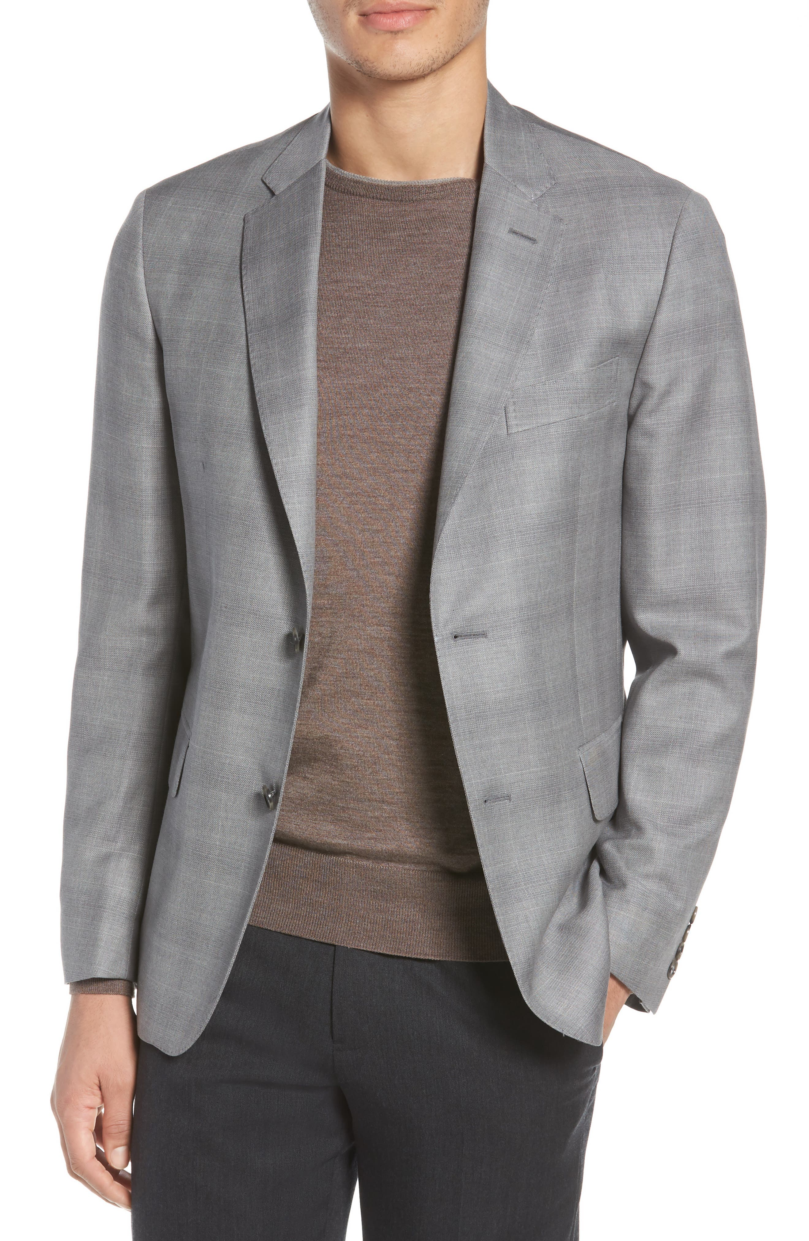 Traditional Fit Windowpane Wool Sport Coat,                         Main,                         color, Grey
