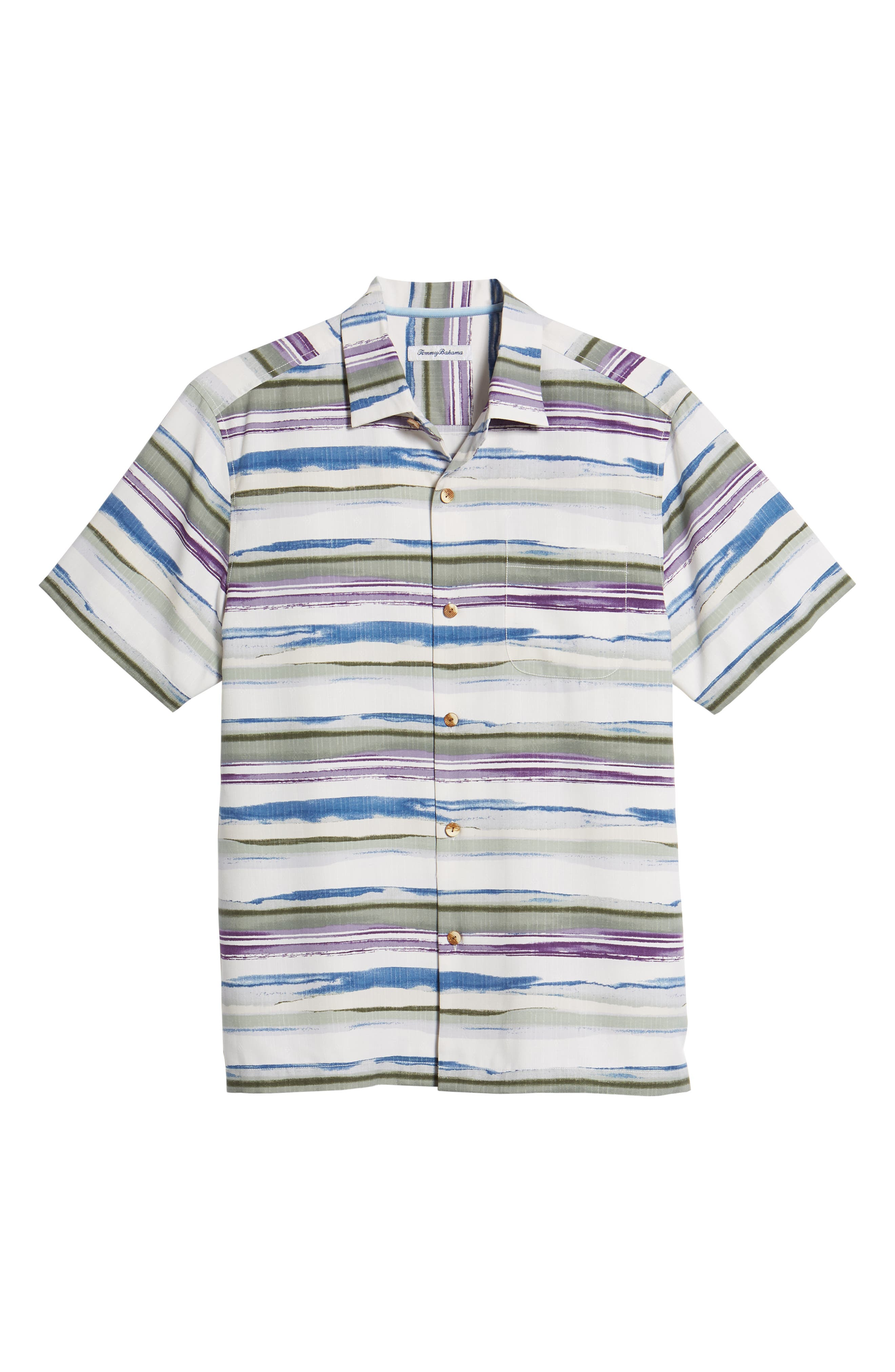 Hazy Horizons Silk Blend Camp Shirt,                             Alternate thumbnail 6, color,                             Grand Canal