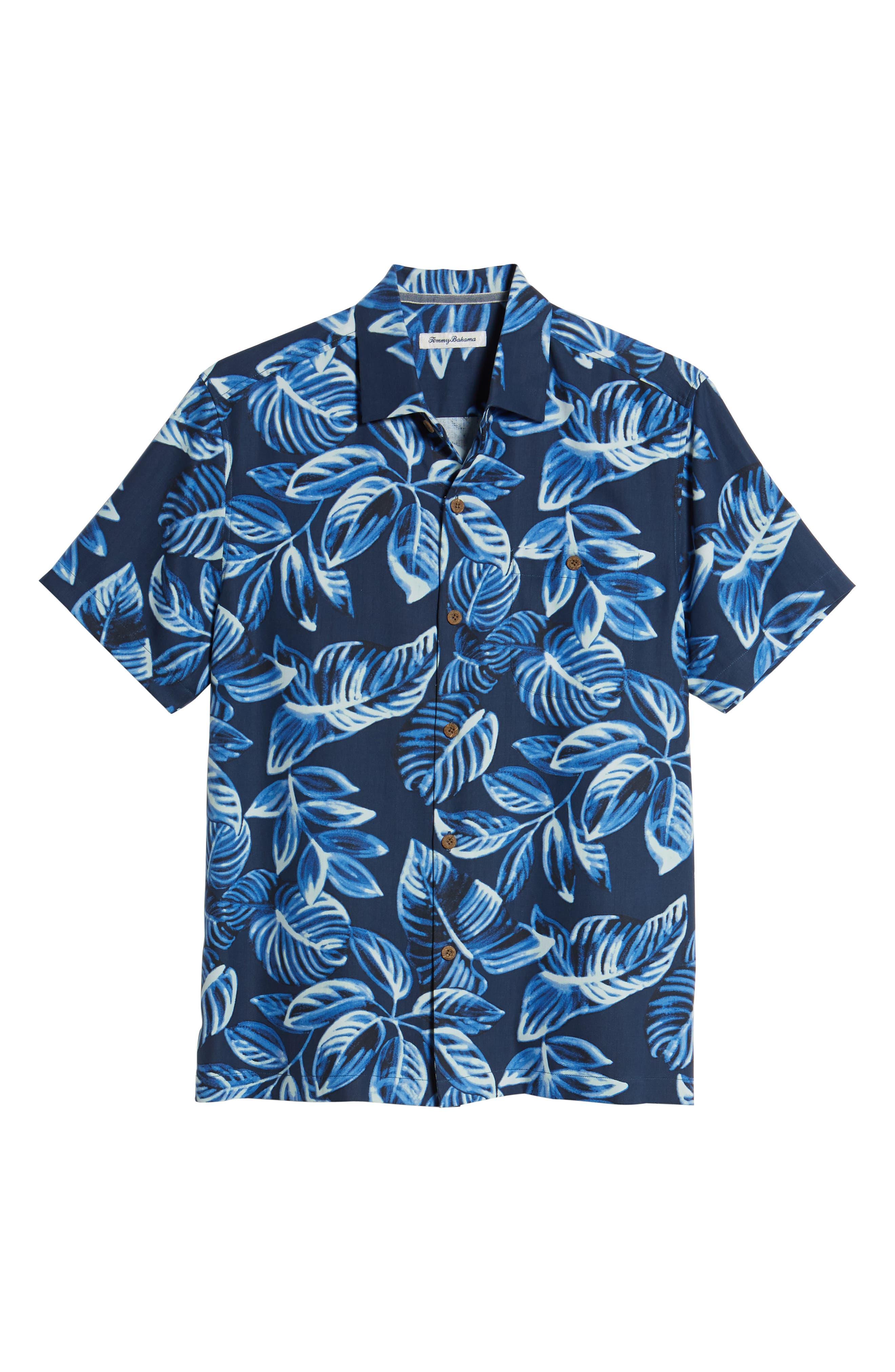 Luna Leaves Silk Camp Shirt,                             Alternate thumbnail 6, color,                             Ocean Deep