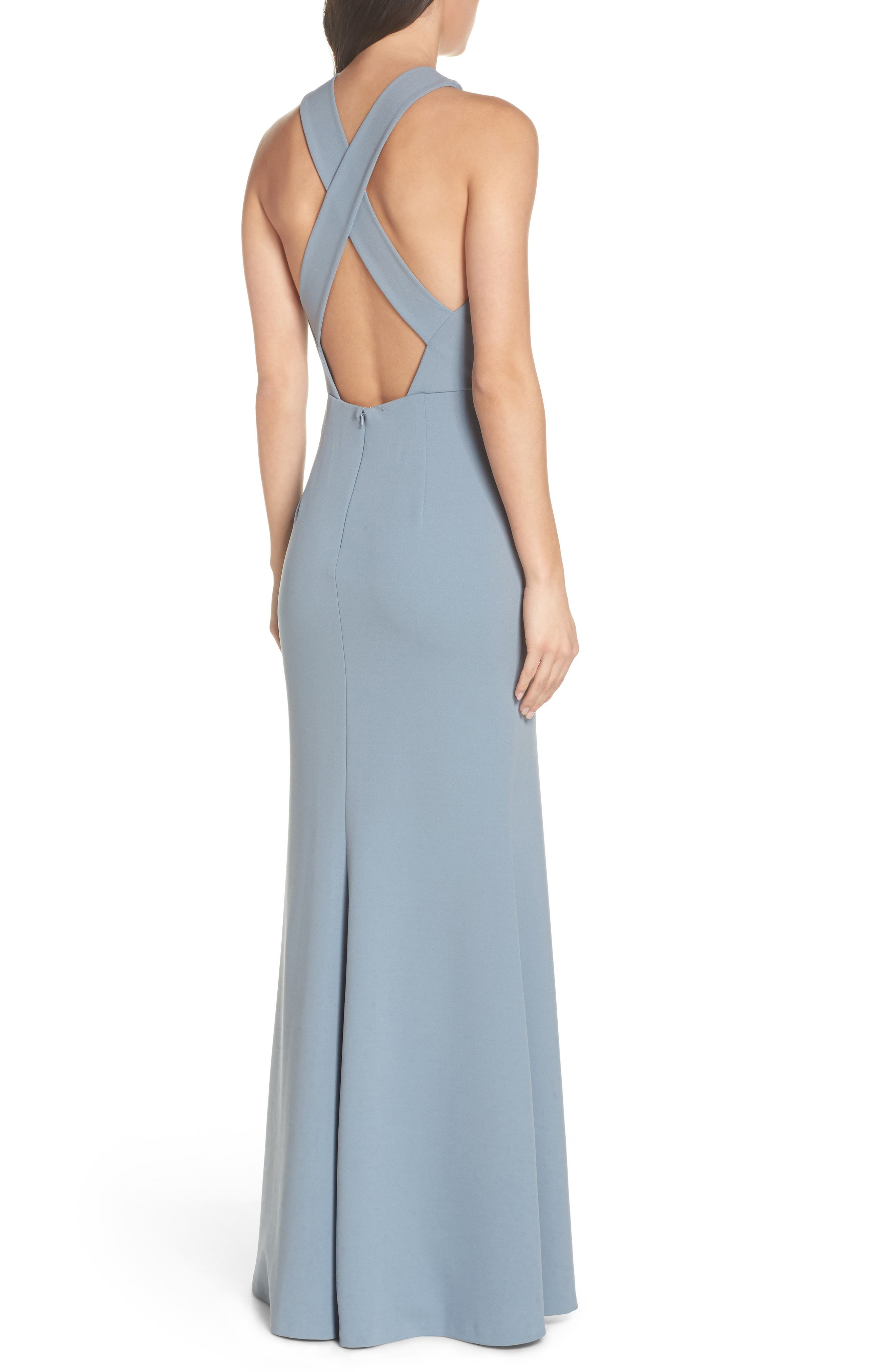 Kayleigh Cross Front Crepe Knit Gown,                             Alternate thumbnail 2, color,                             Mayan Blue