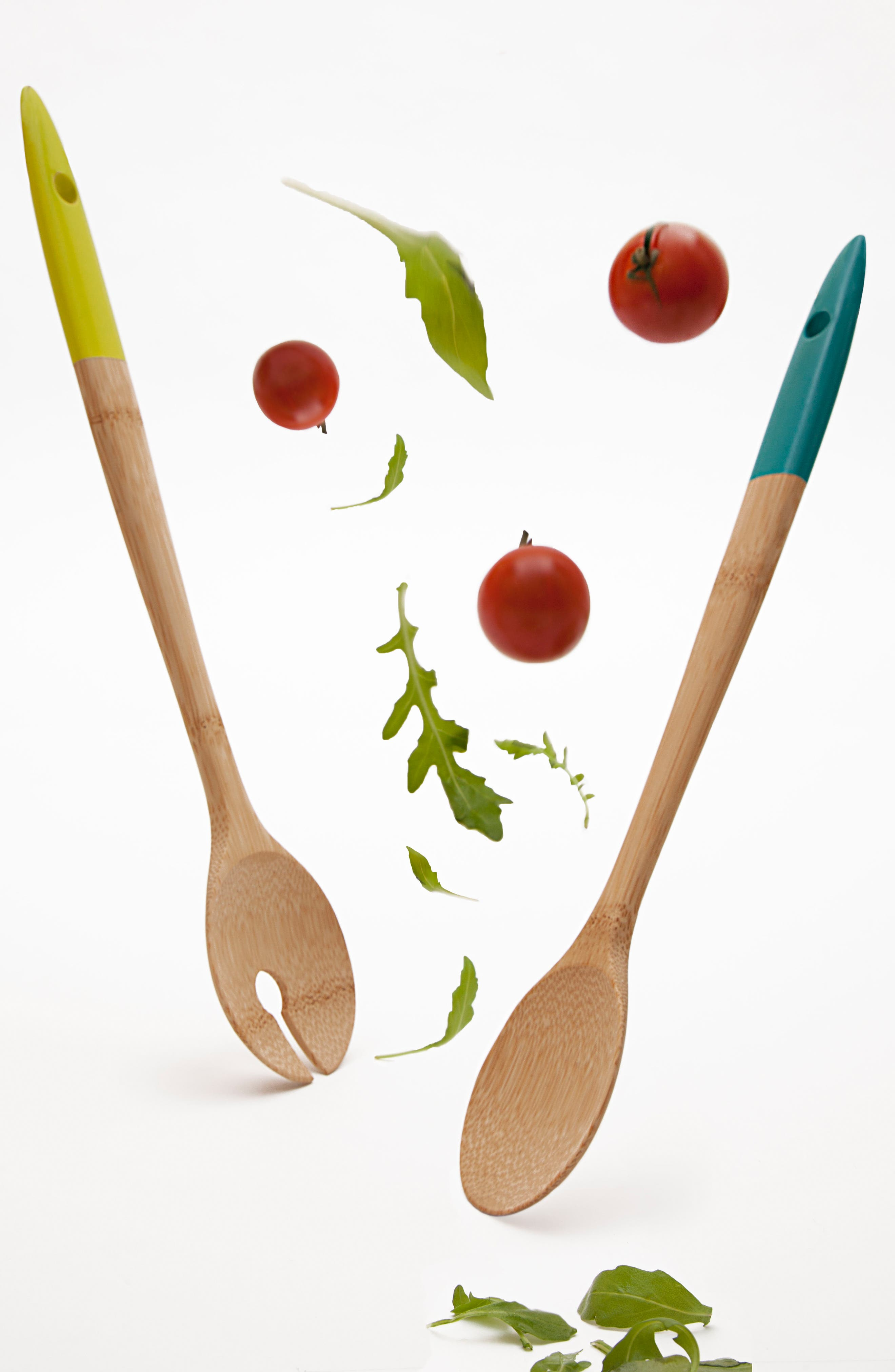 Bamboo Salad Servers,                             Alternate thumbnail 2, color,                             Blue/ Green
