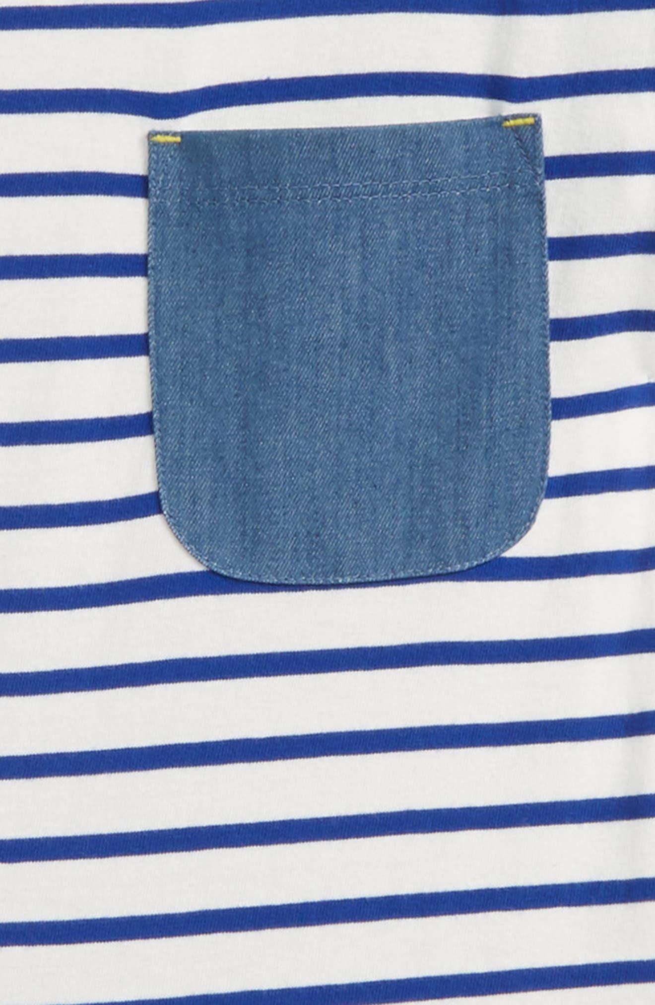 Stripe Cotton Romper,                             Alternate thumbnail 2, color,                             Ivory/ Orion Blue