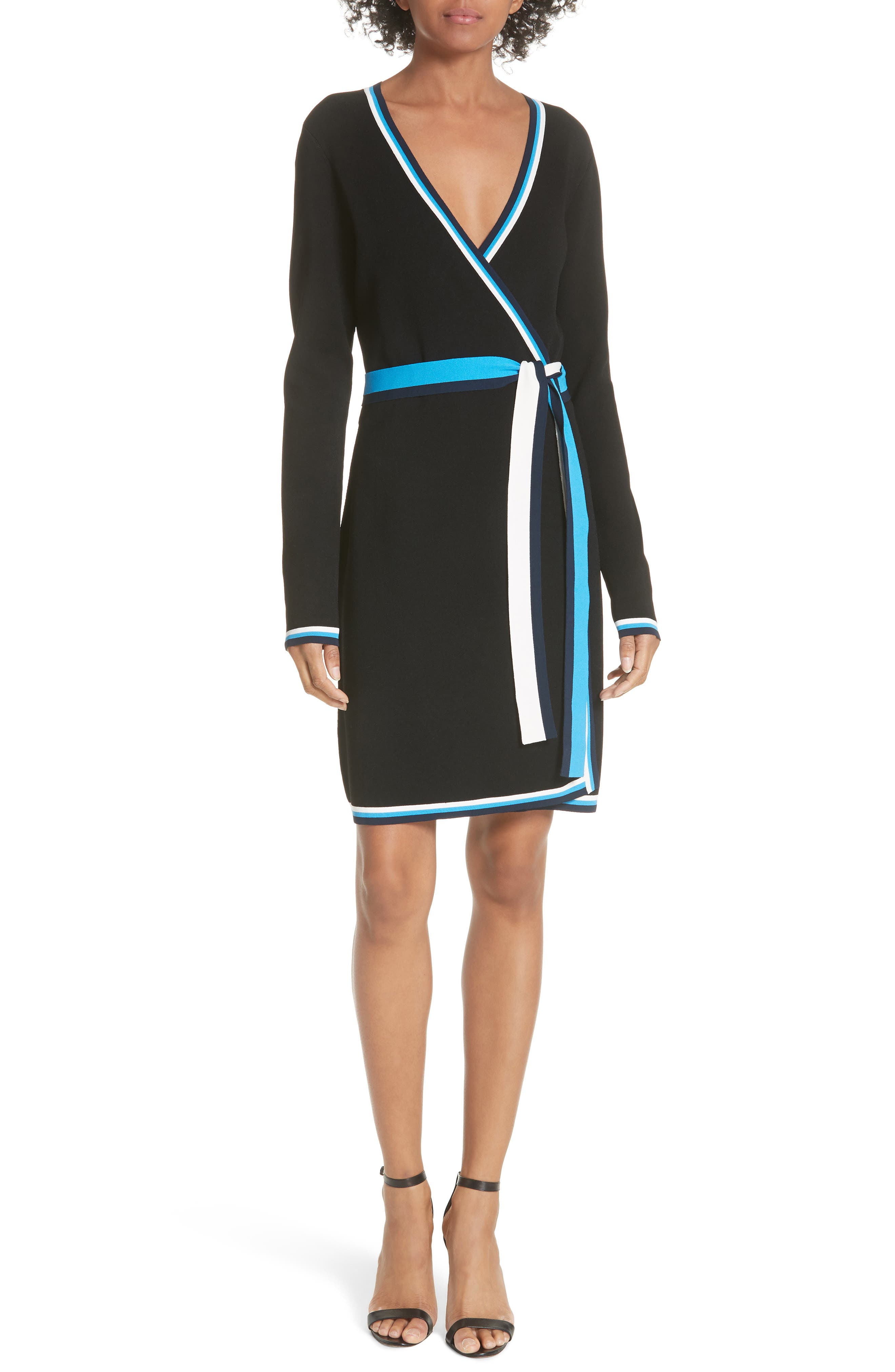 Diane von Furstenberg Wrap Sweater Dress,                             Main thumbnail 1, color,                             Laguna Multi