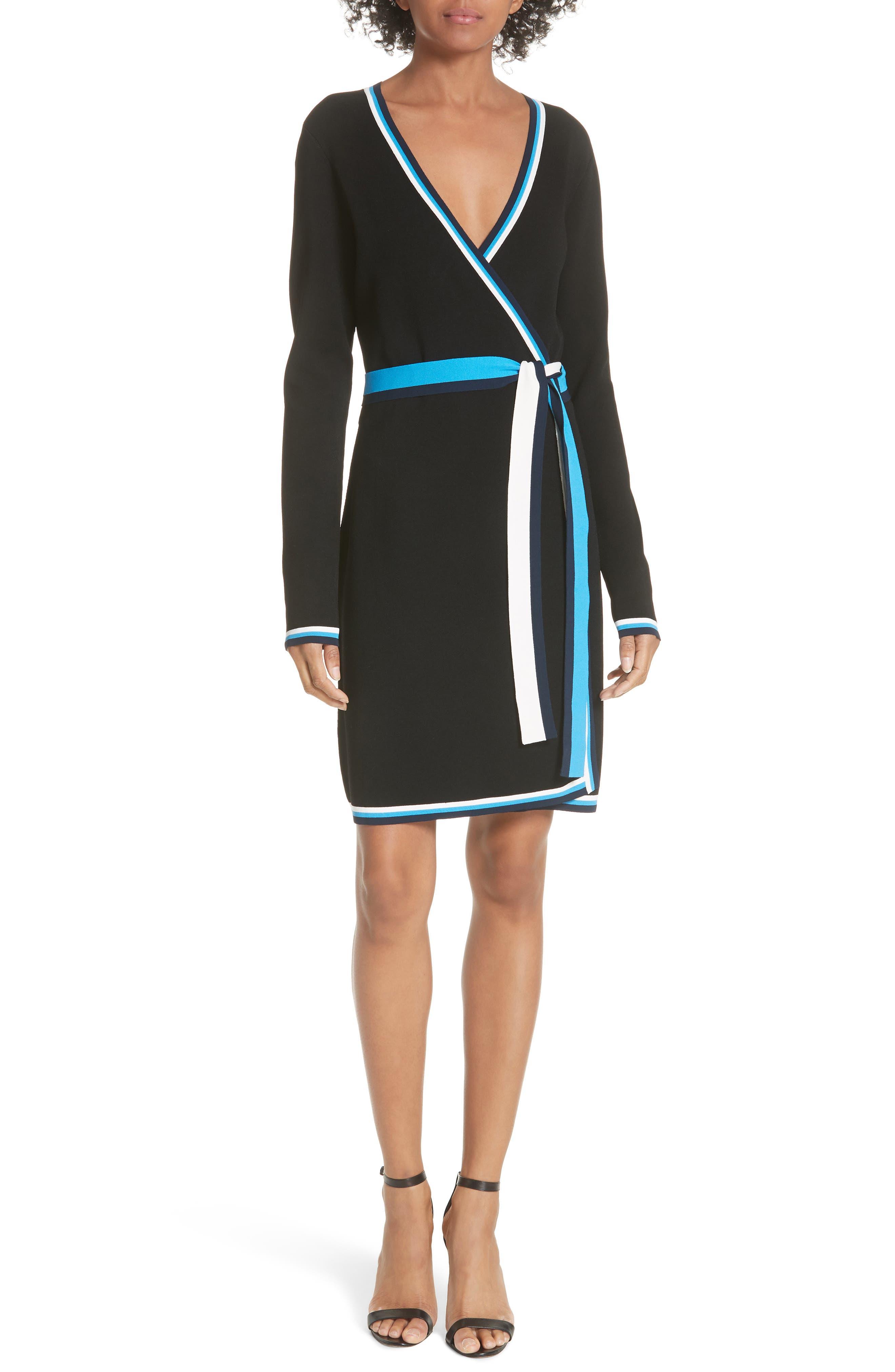 Diane von Furstenberg Wrap Sweater Dress,                         Main,                         color, Laguna Multi