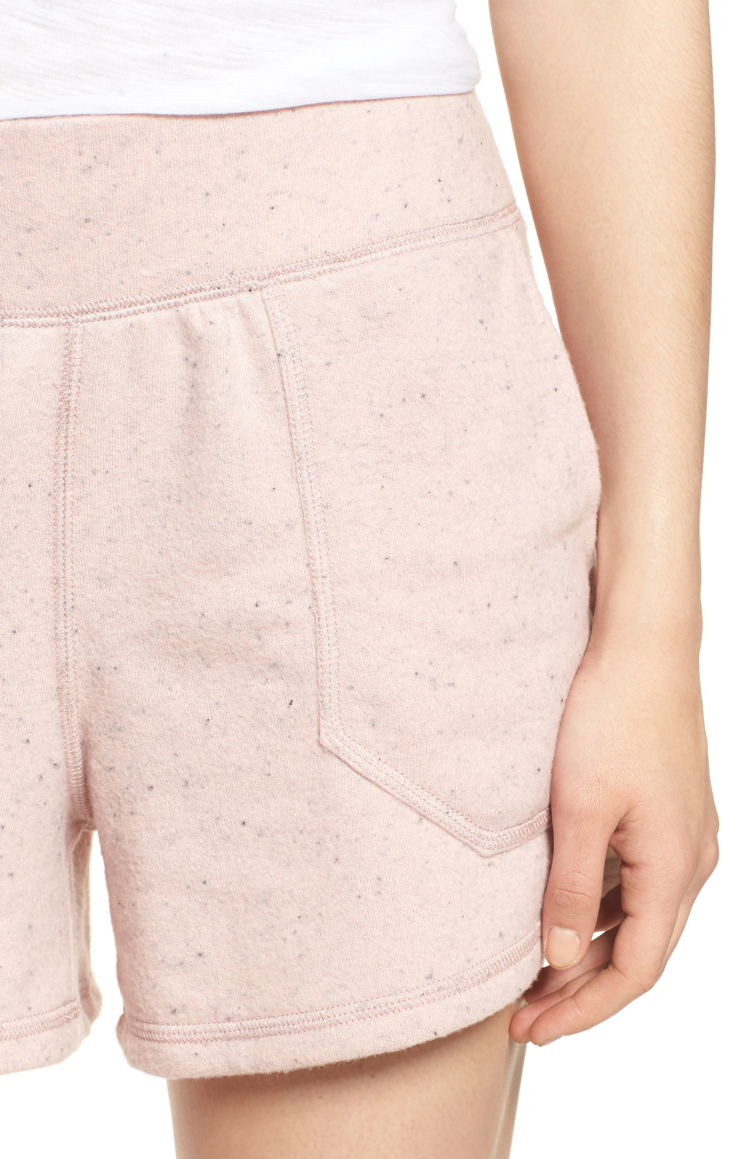 Off-Duty French Terry Shorts,                             Alternate thumbnail 4, color,                             Pink Smoke