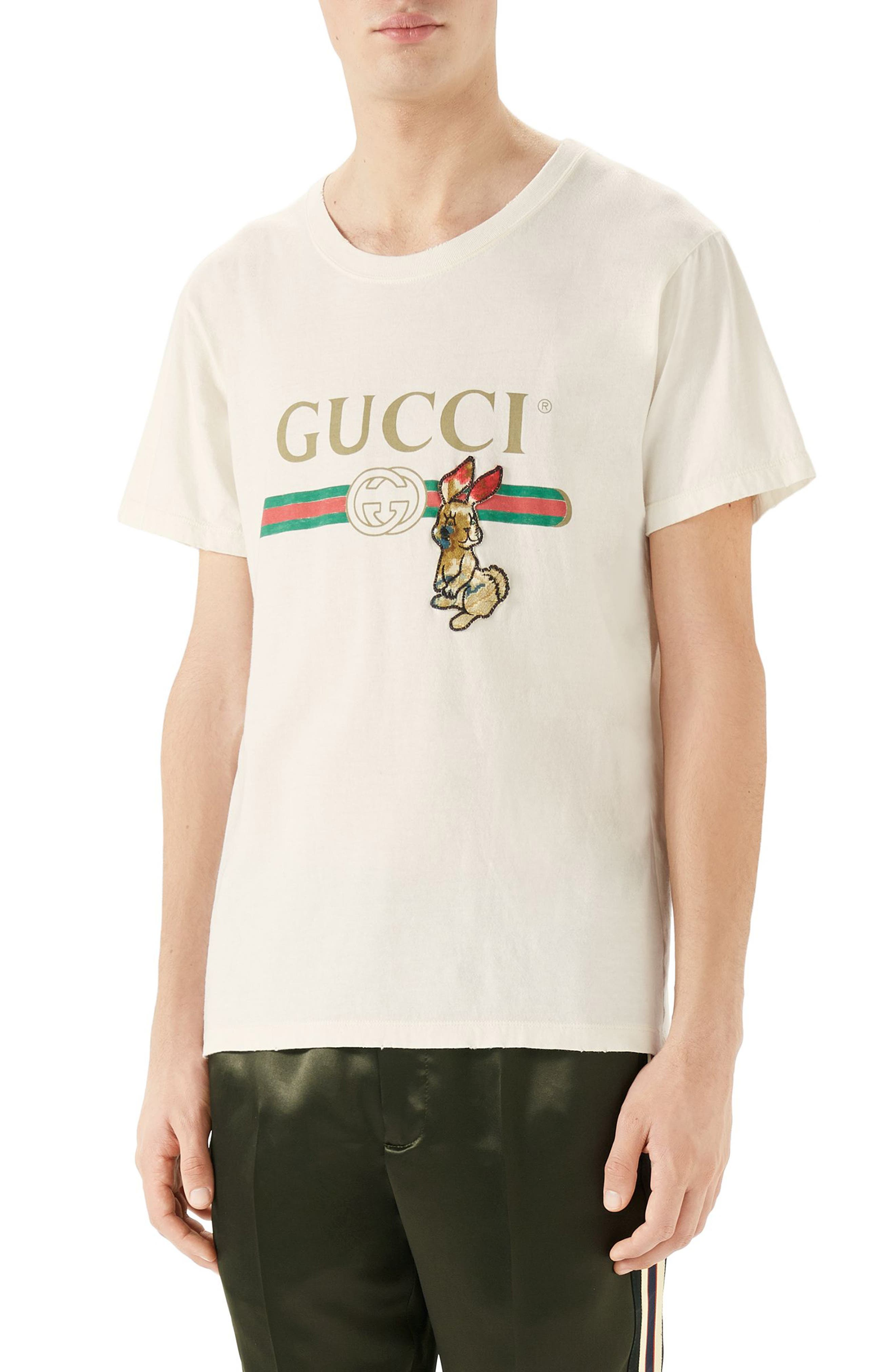 Gucci Vintage Logo Rabbit Appliqué T-Shirt