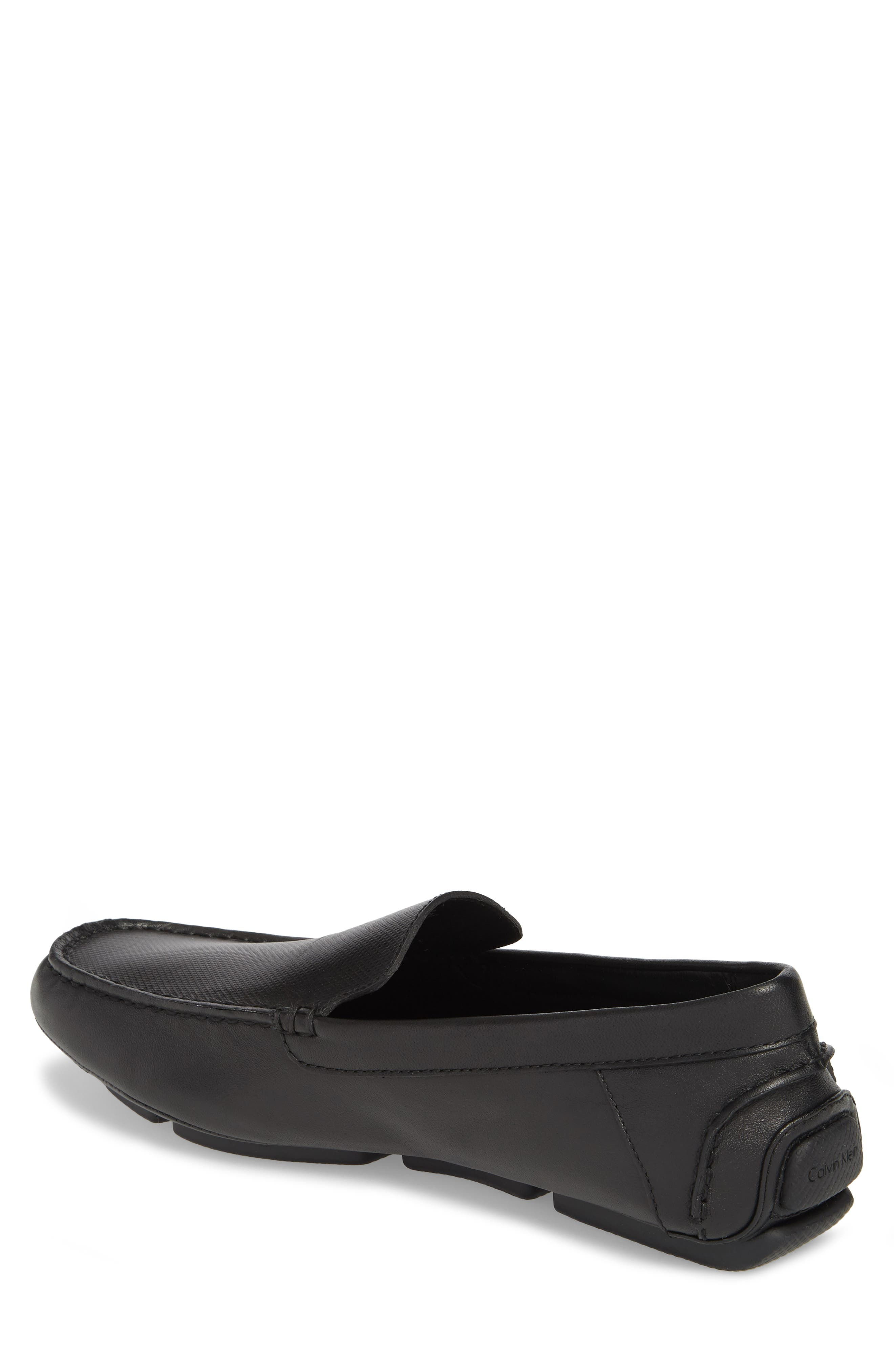 Miguel Textured Driving Loafer,                             Alternate thumbnail 2, color,                             Black Leather