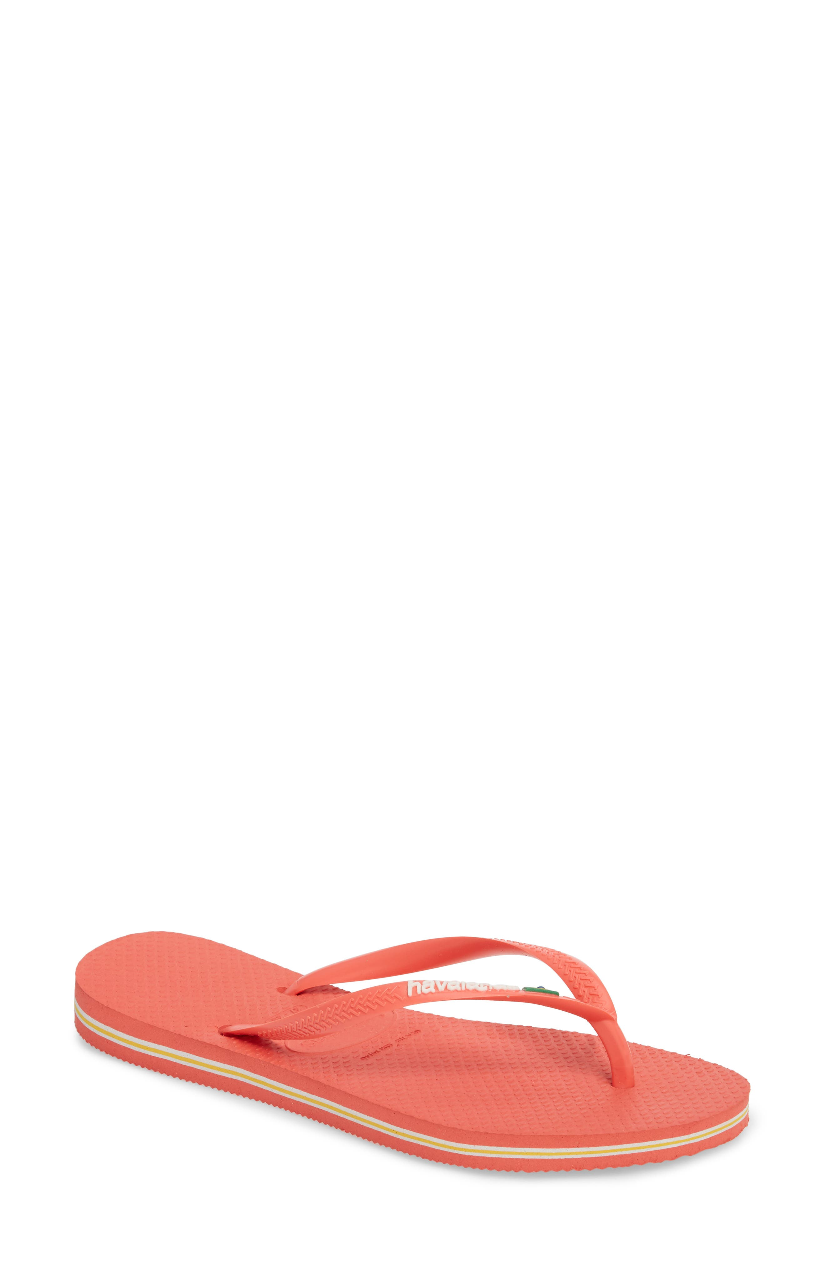 Havianas Slim Brazil Flip Flop,                             Main thumbnail 1, color,                             Coral