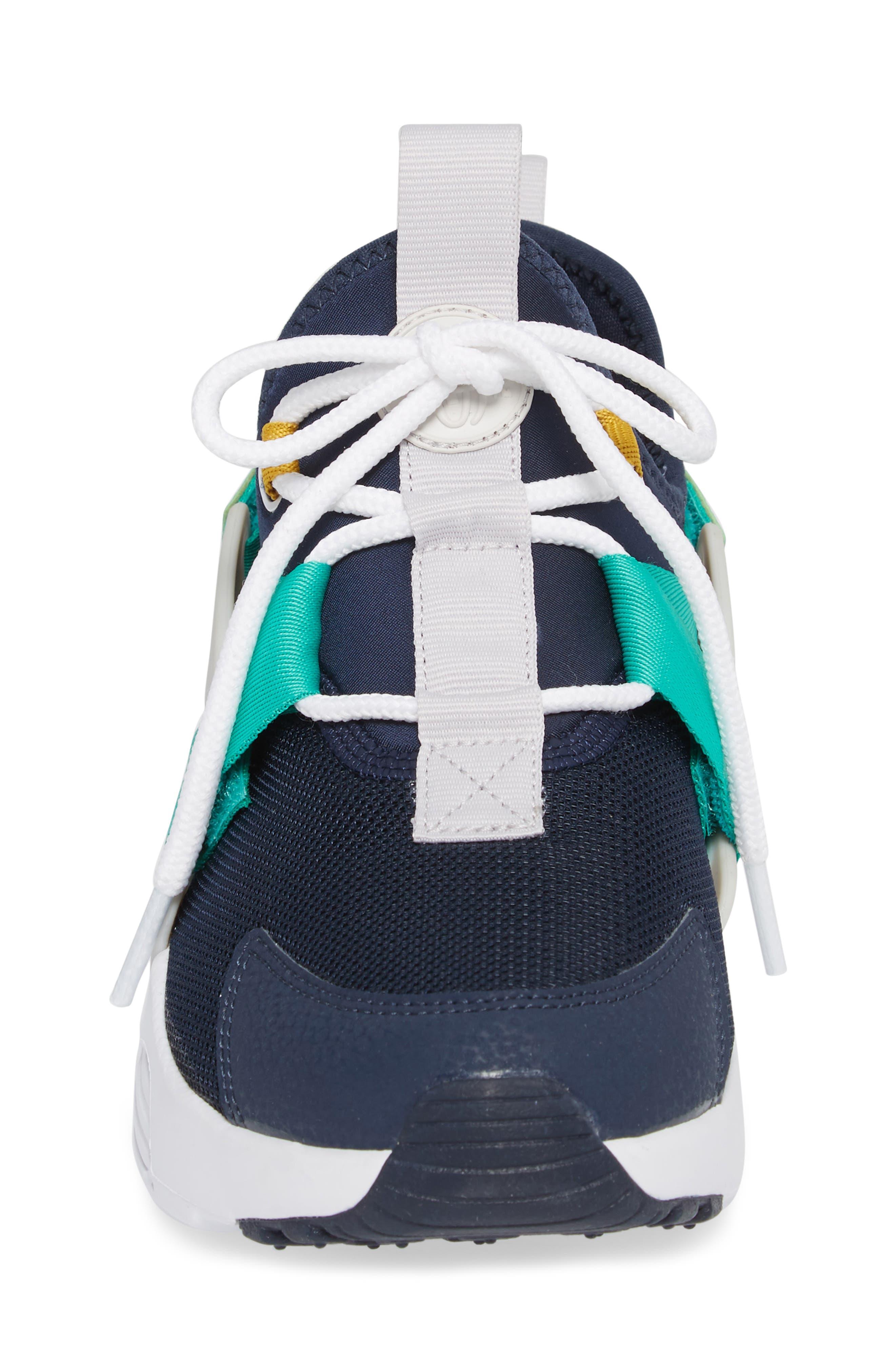 Air Huarache City Low Sneaker,                             Alternate thumbnail 4, color,                             Obsidian/ White/ Grey/ Green