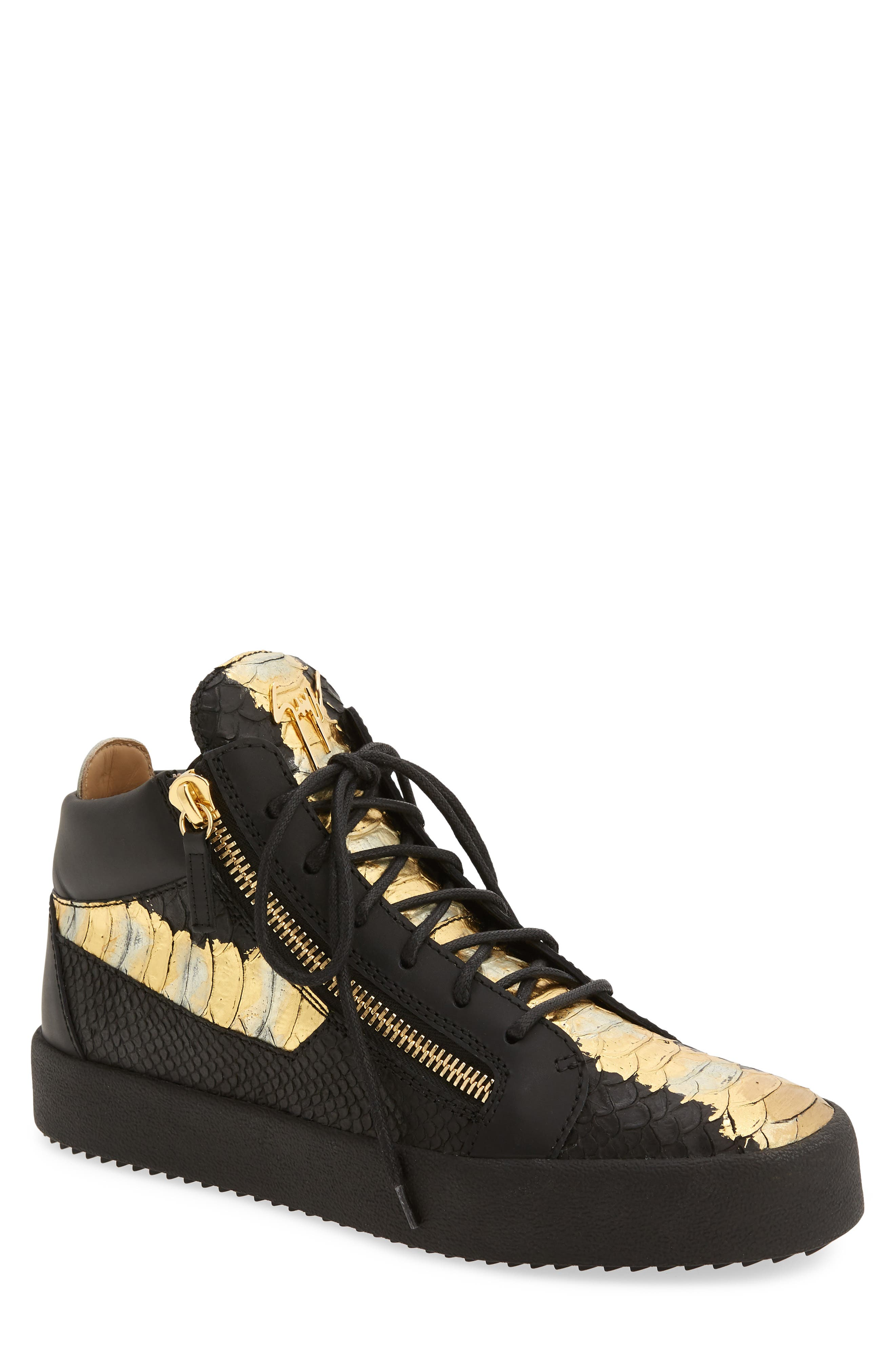 High-Top Sneaker,                             Main thumbnail 1, color,                             Black Leather