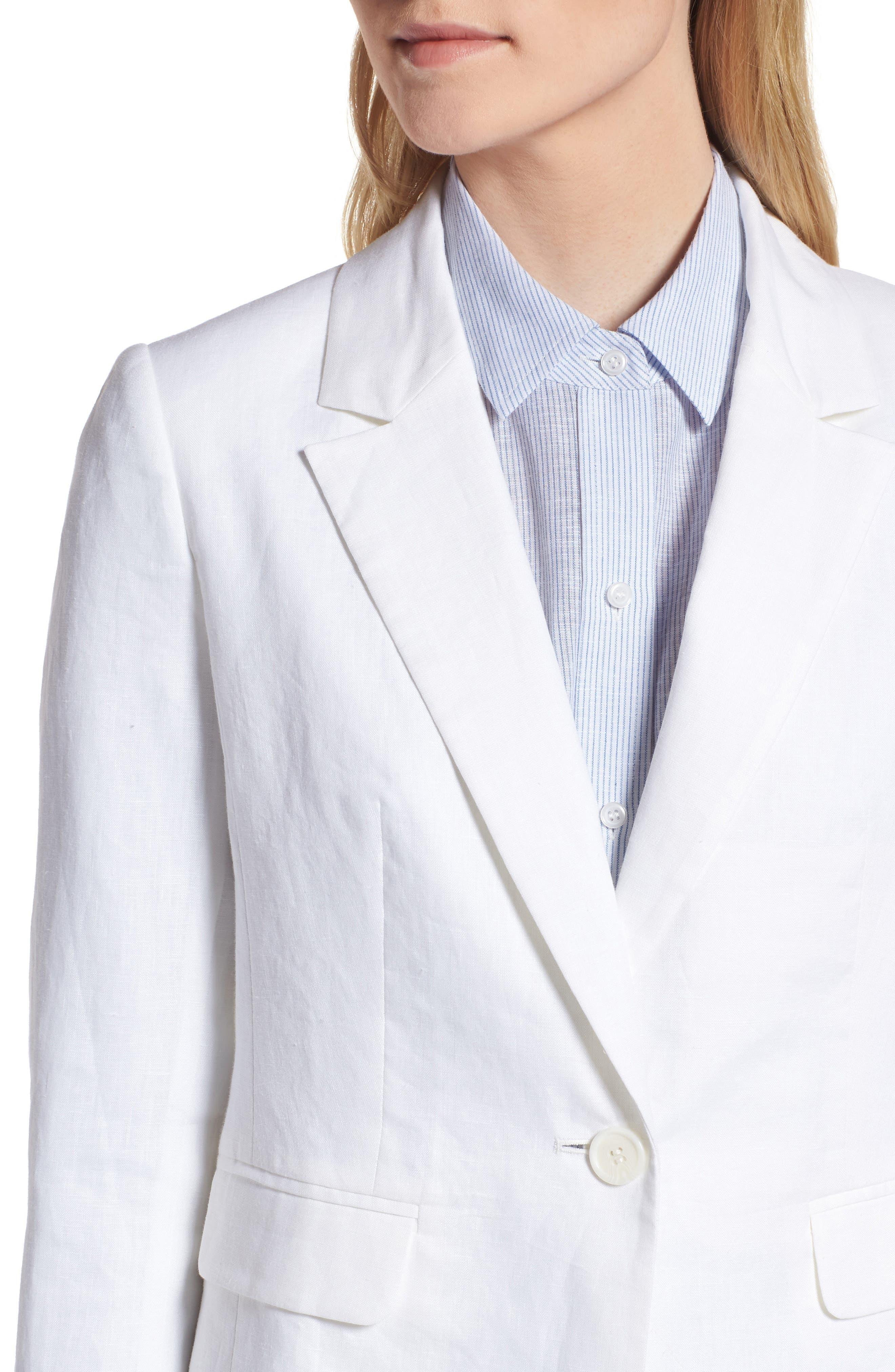 Linen Blend Blazer,                             Alternate thumbnail 4, color,                             White