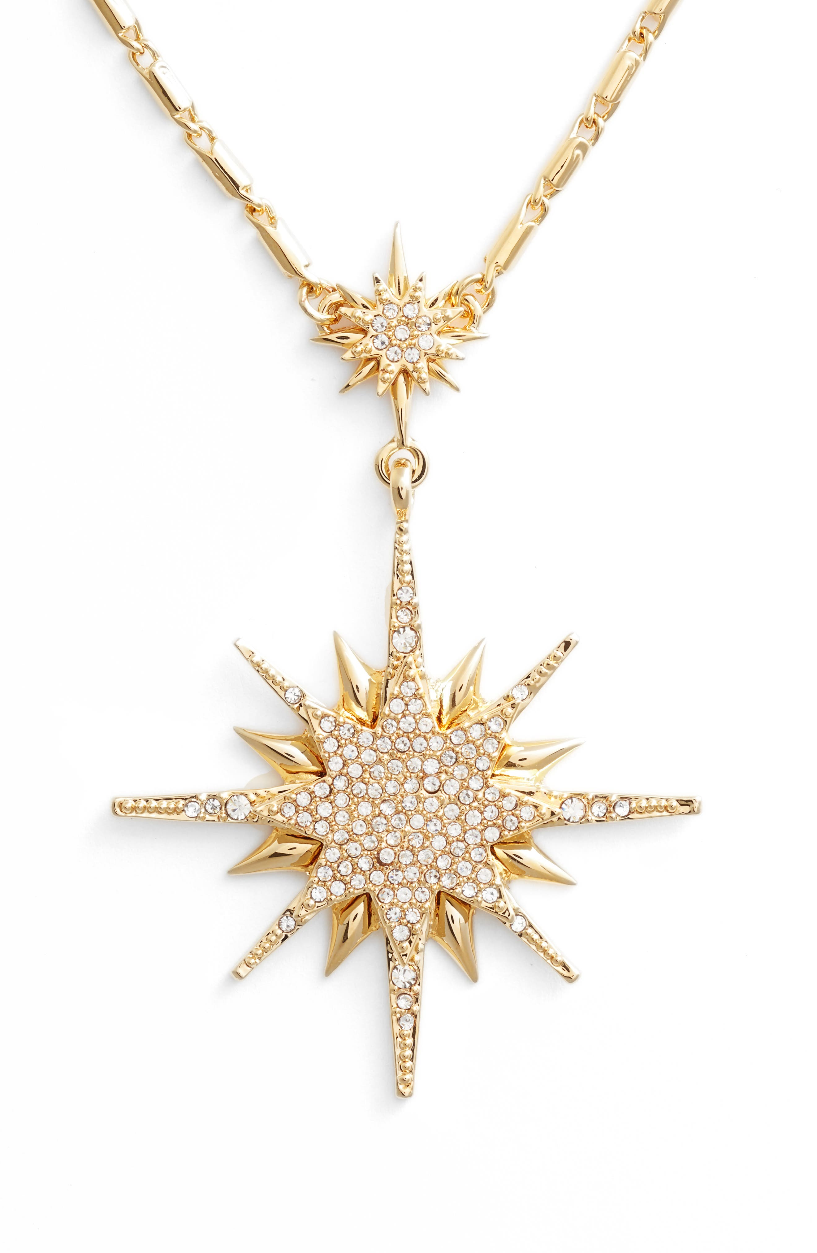 Crystal Starburst Pendant Necklace,                             Alternate thumbnail 2, color,                             Gold