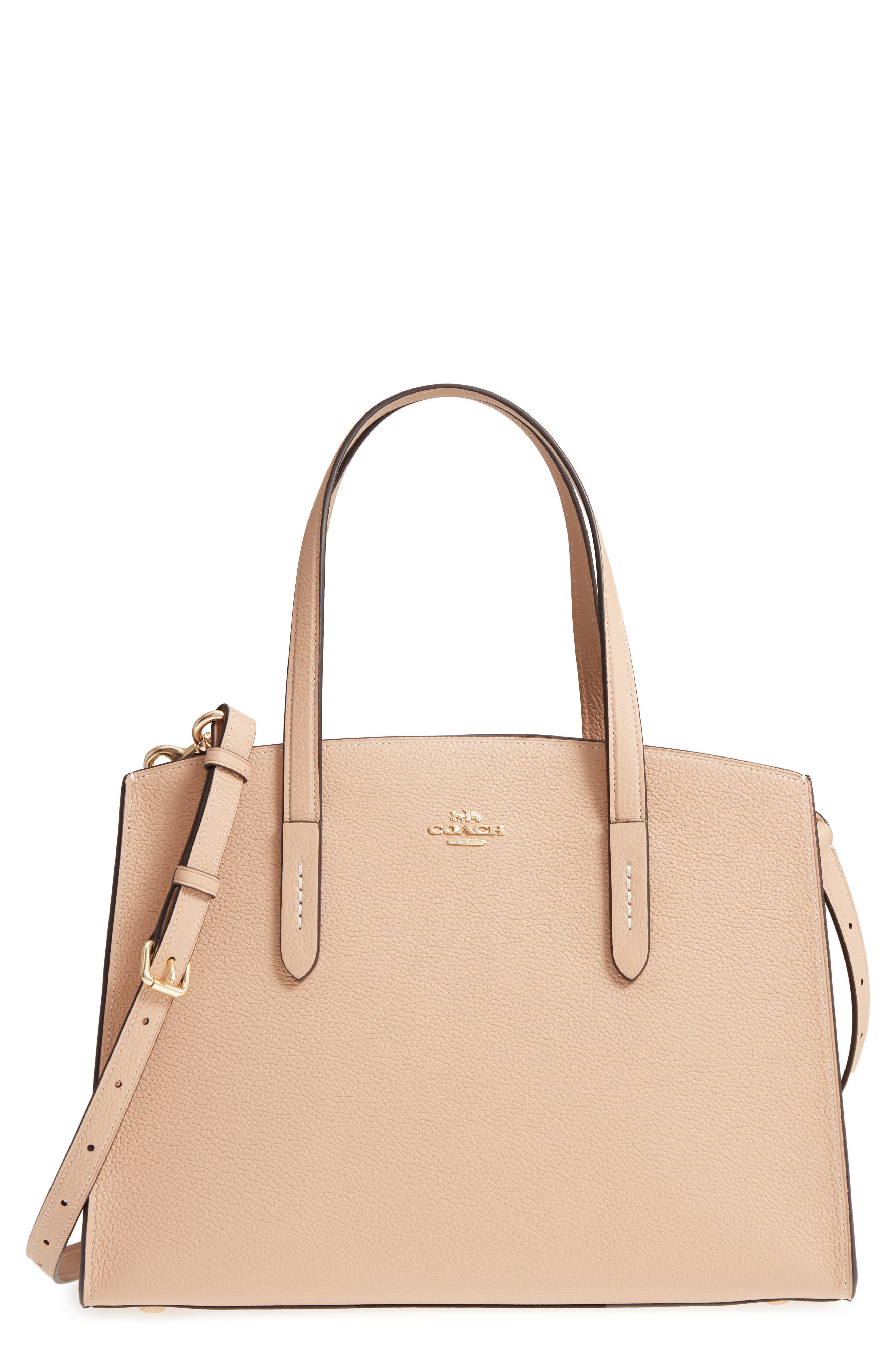 Charlie Leather Tote,                         Main,                         color, Beechwood