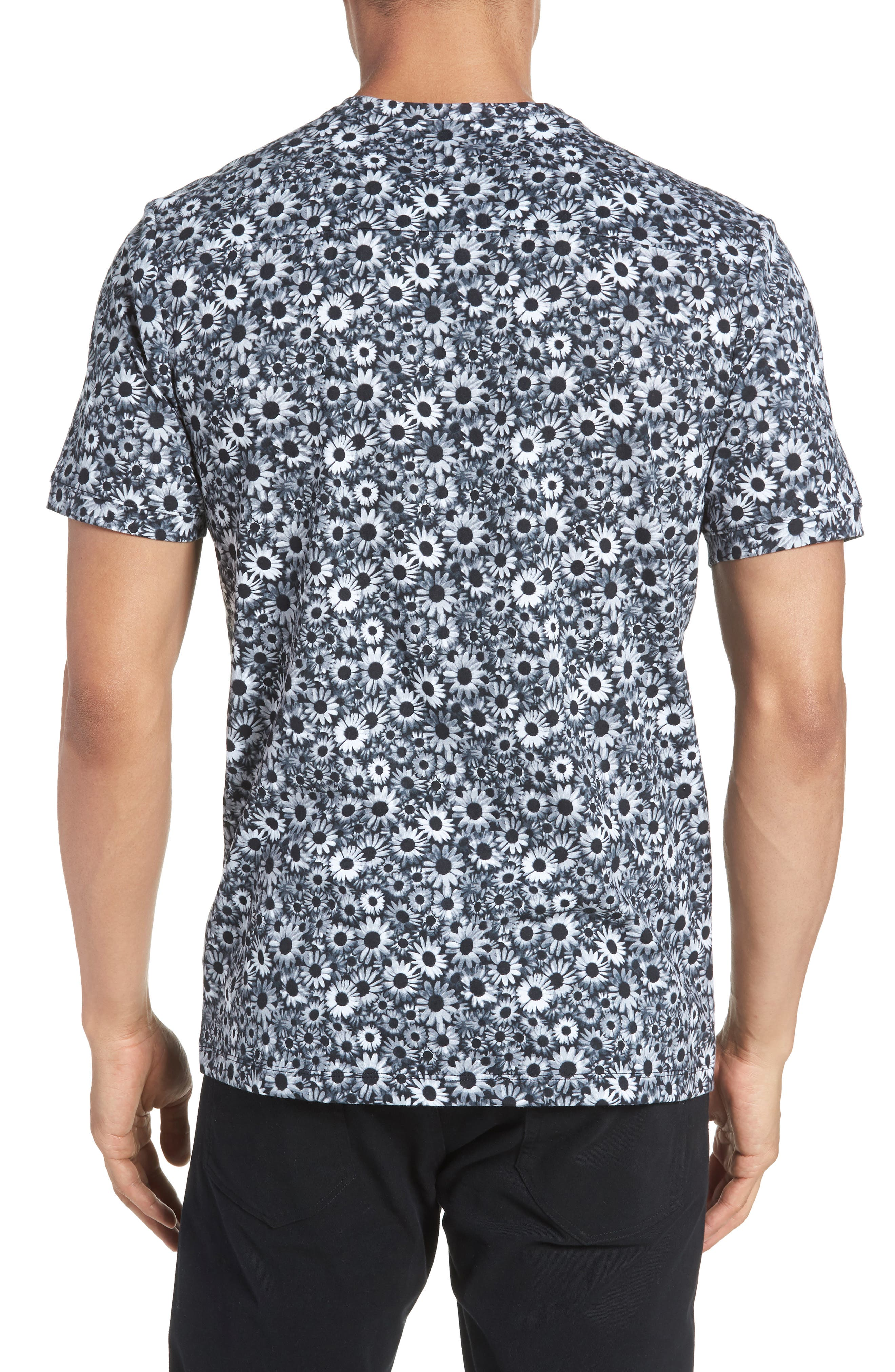 Print T-Shirt,                             Alternate thumbnail 2, color,                             Black White Daisy Floral