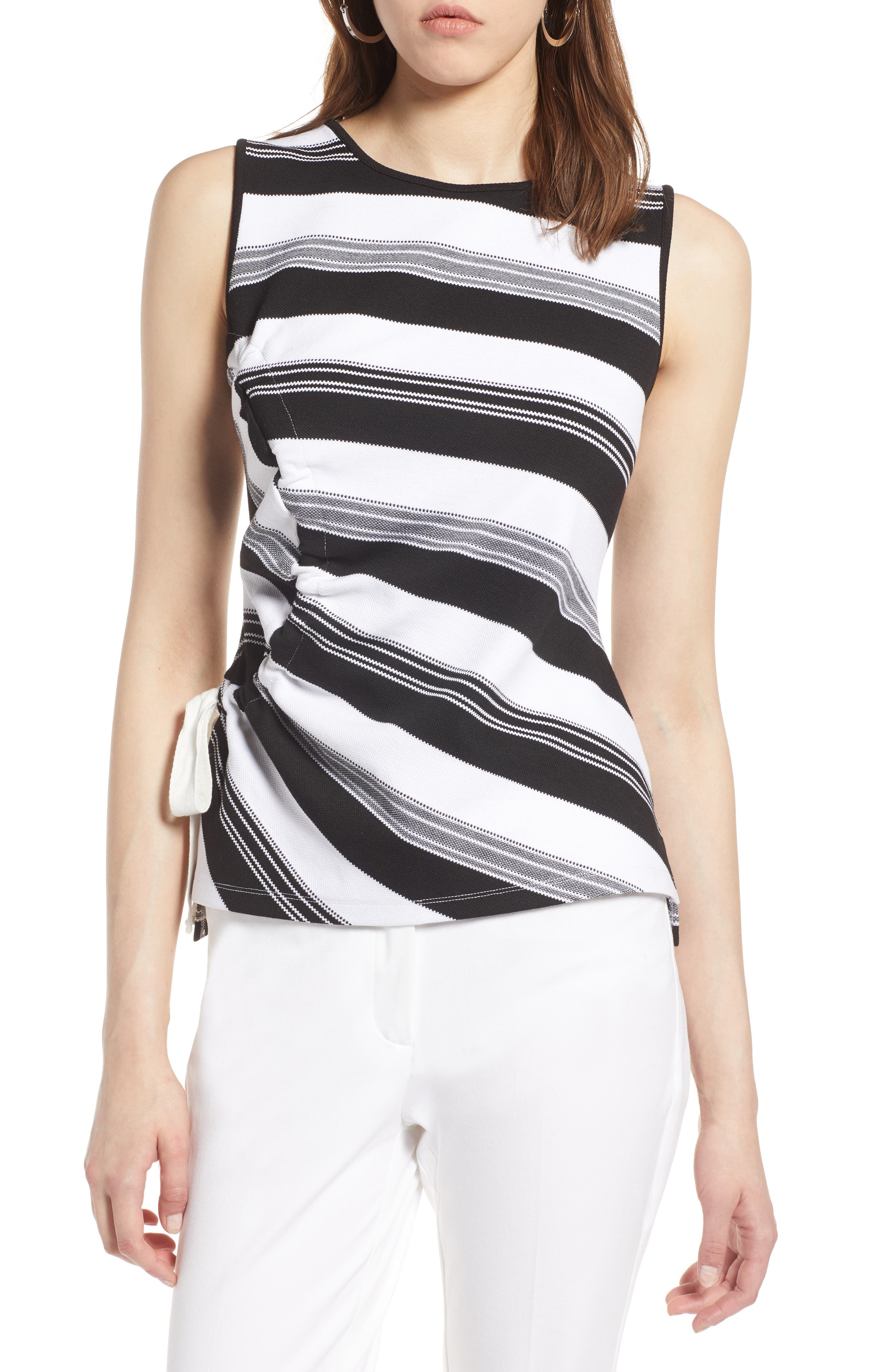 Ruched Stripe Tank Top,                             Main thumbnail 1, color,                             Black- Ivory Stripe