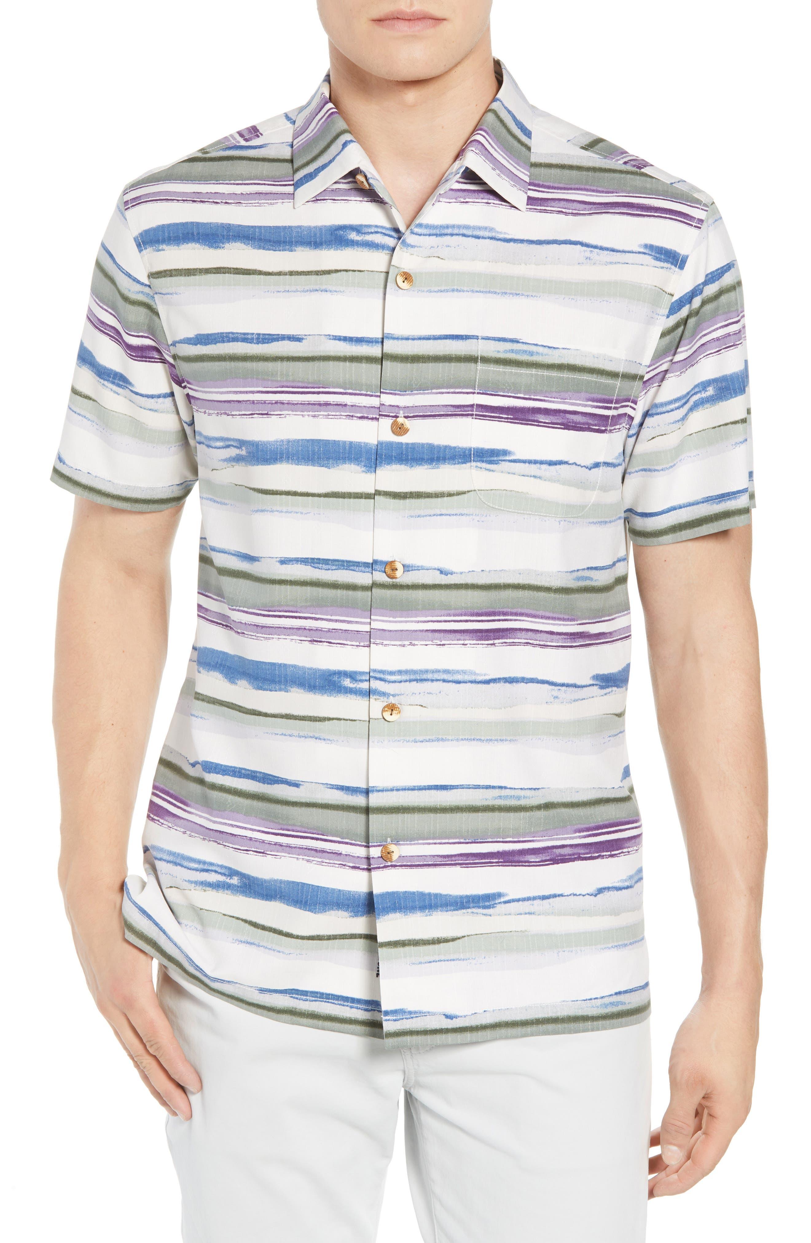 Hazy Horizons Silk Blend Camp Shirt,                             Main thumbnail 1, color,                             Grand Canal