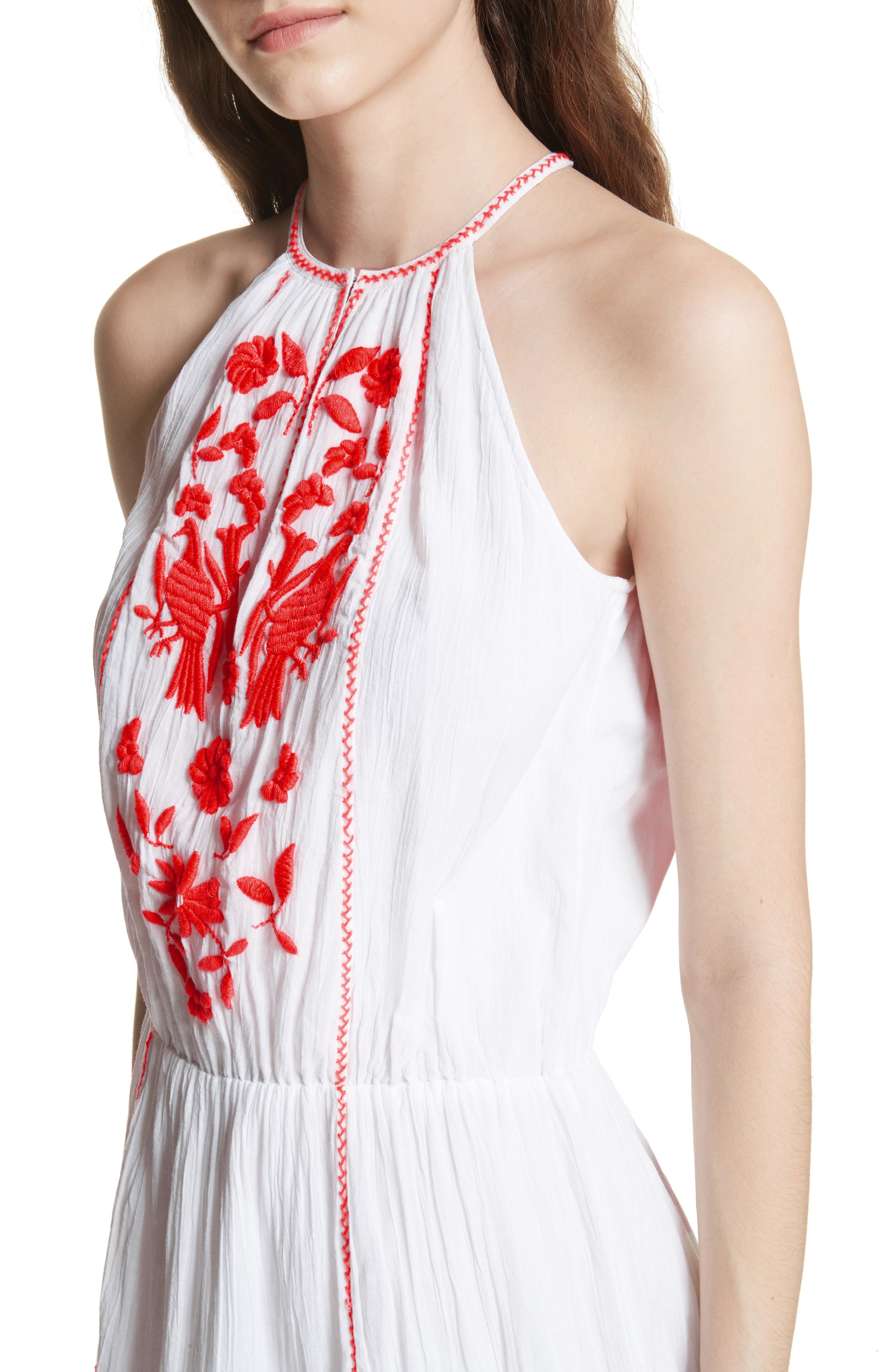 Clemency Embroidered Cotton Gauze Dress,                             Alternate thumbnail 4, color,                             Clean White Salsa
