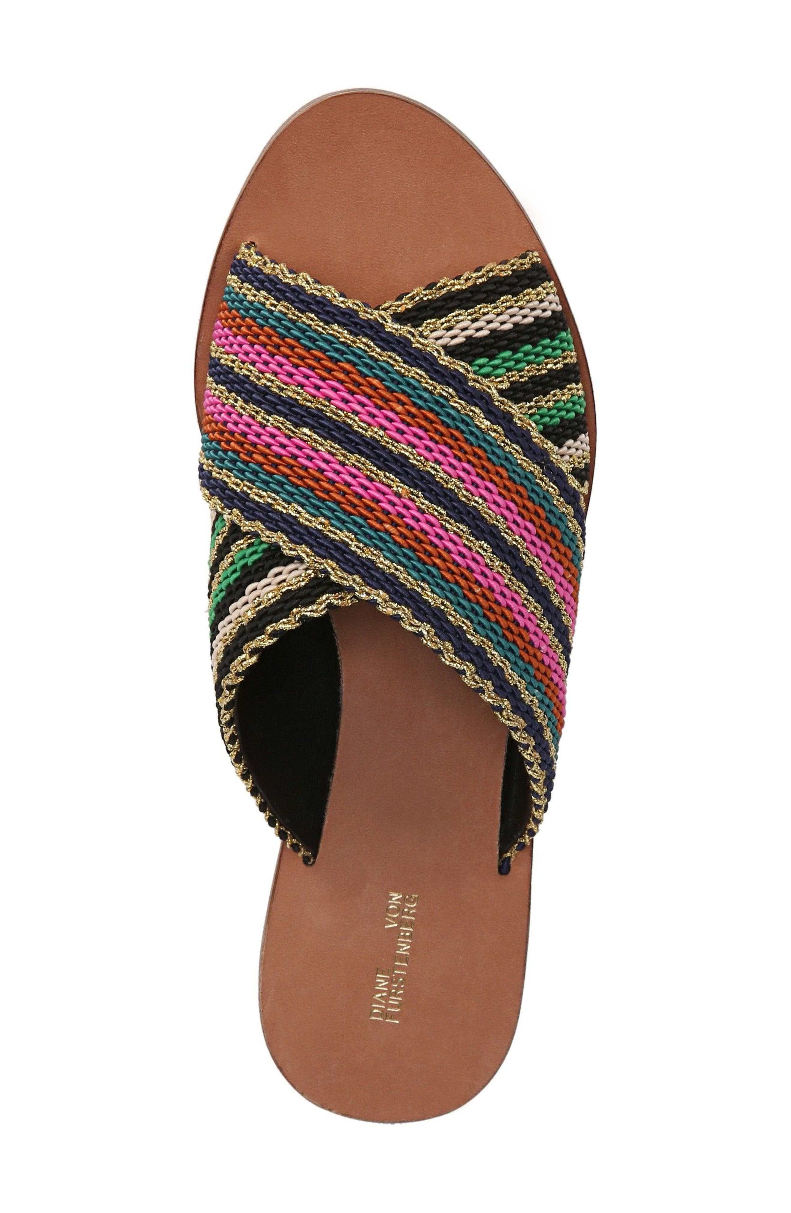Cindi Woven Slide Sandal,                             Alternate thumbnail 4, color,                             Black/ Gold