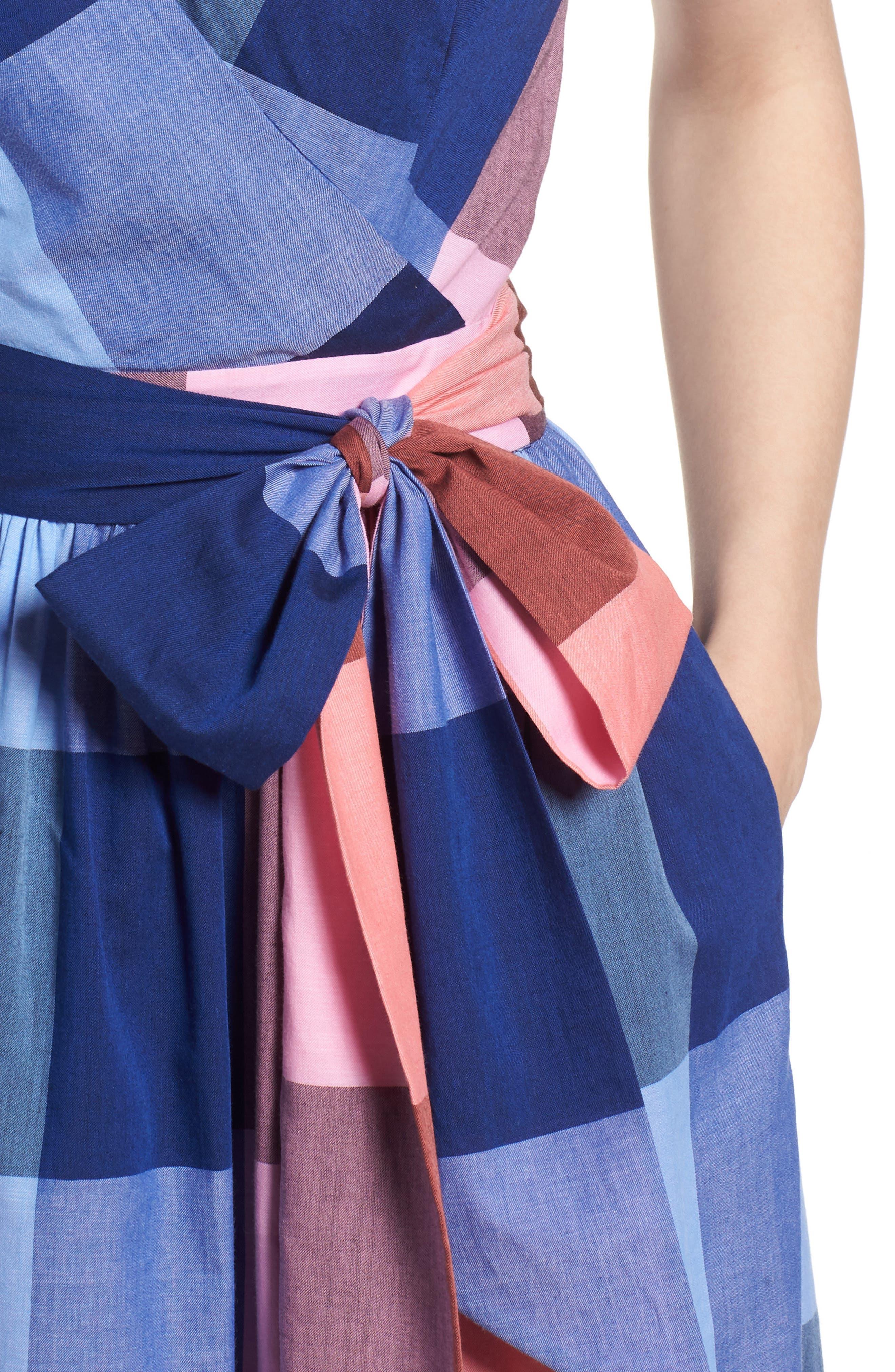 Plaid Cotton Wrap Style Dress,                             Alternate thumbnail 4, color,                             Pink- Blue Plaid
