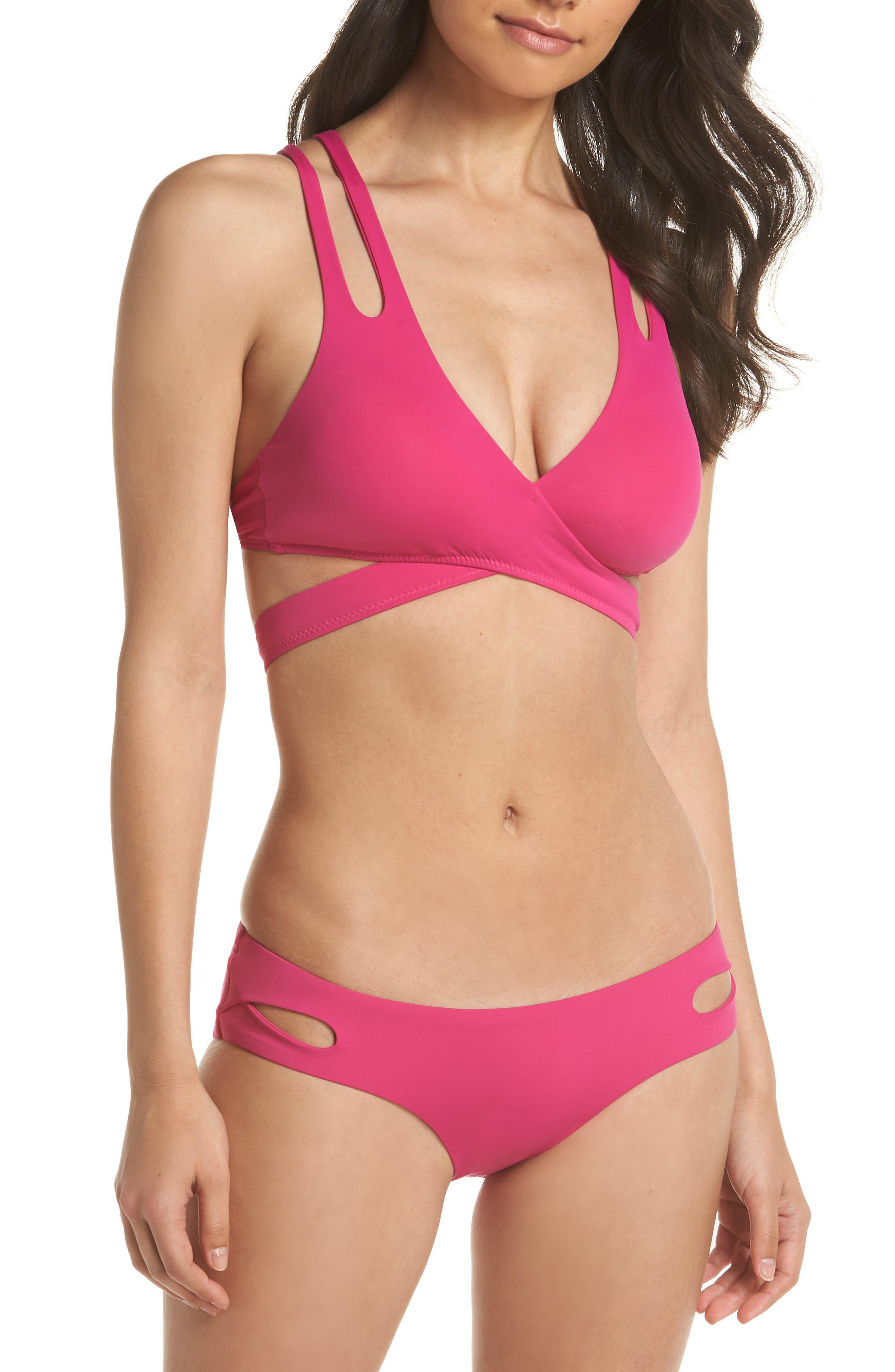Color Code Wrap Bikini Top,                             Alternate thumbnail 6, color,                             Flamingo