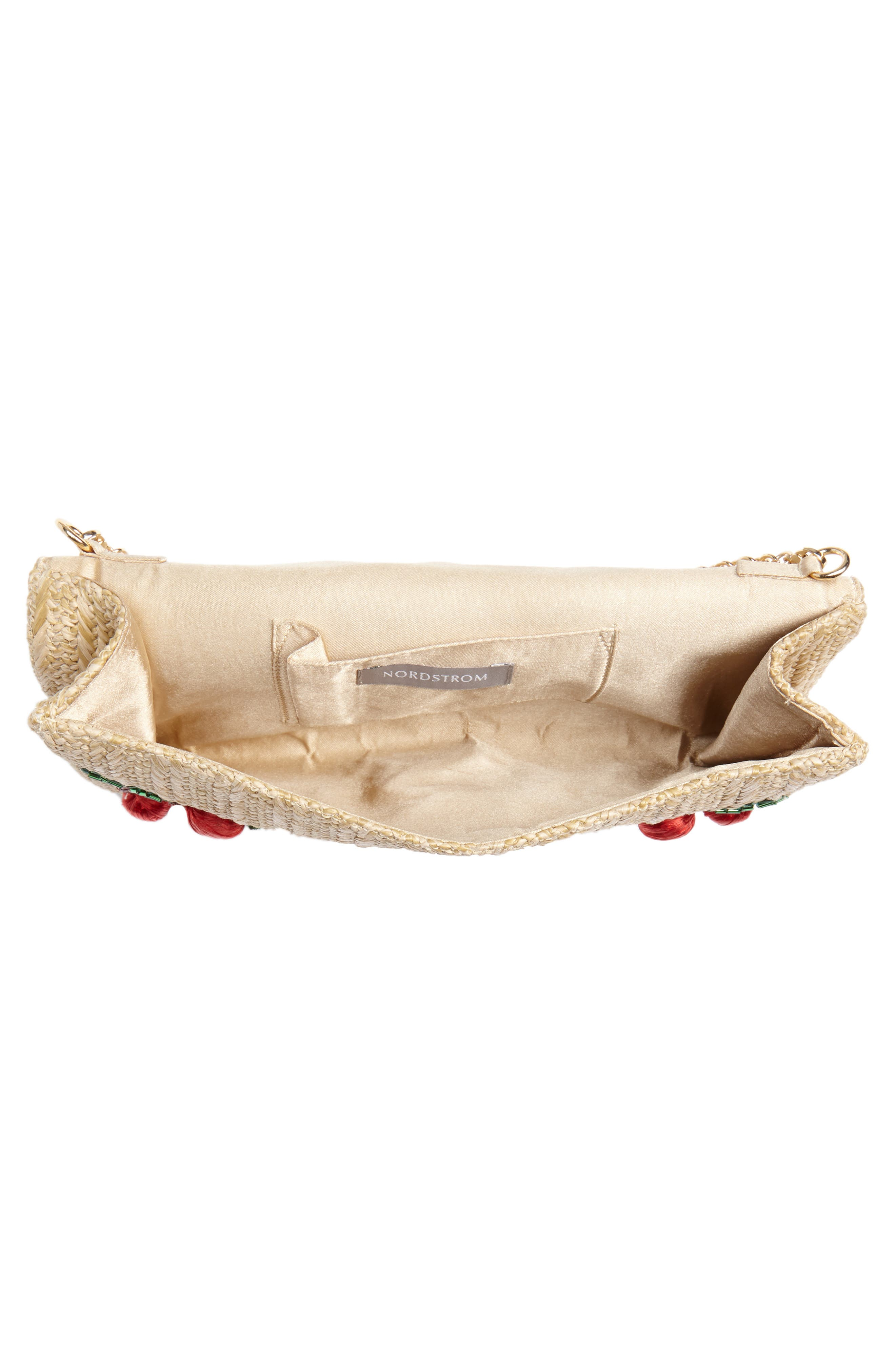 Cherry Embellished Straw Envelope Clutch,                             Alternate thumbnail 4, color,                             Natural
