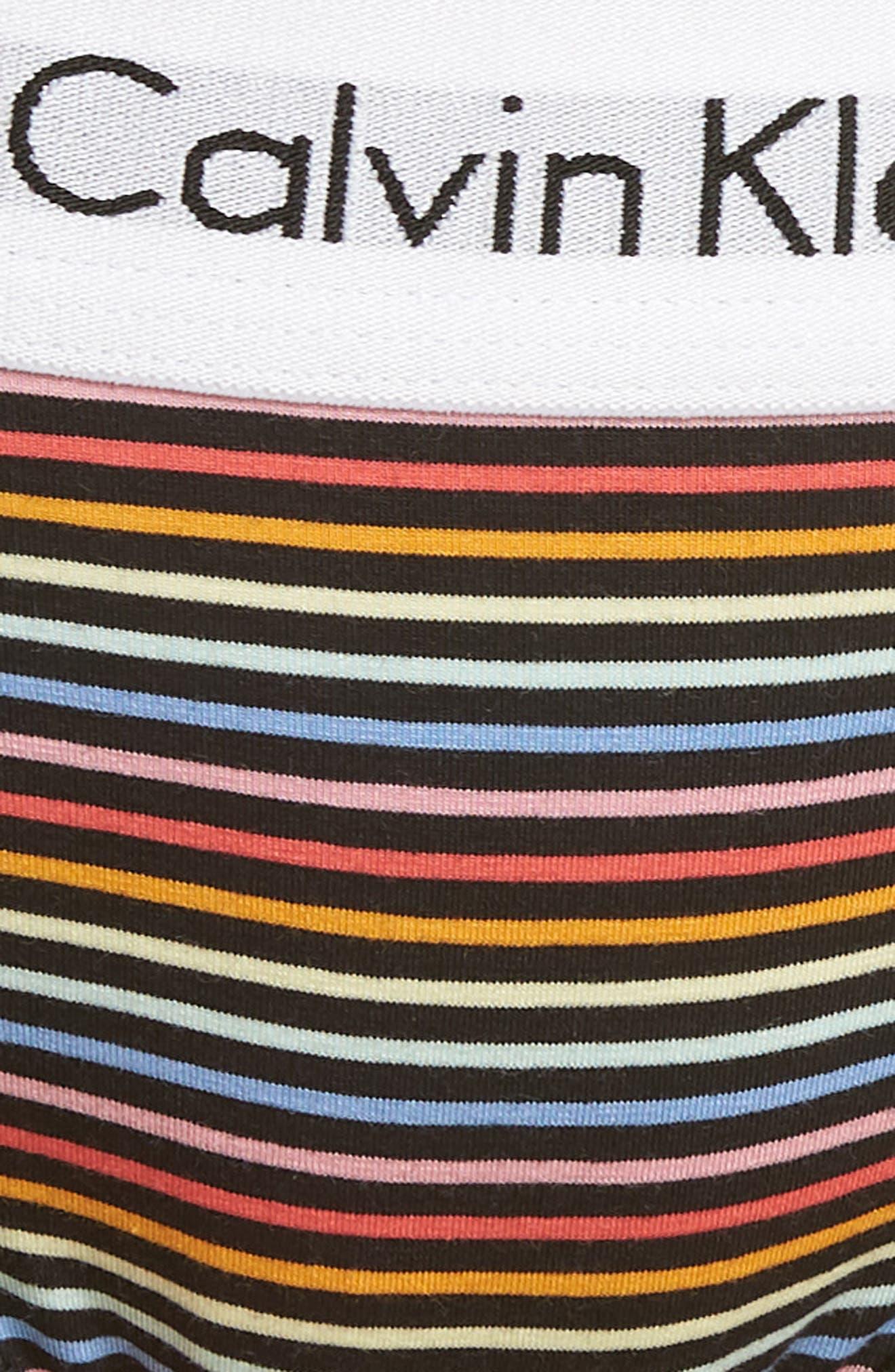 'Modern Cotton Collection' Cotton Blend Bikini,                             Alternate thumbnail 8, color,                             Prism Stripe Black