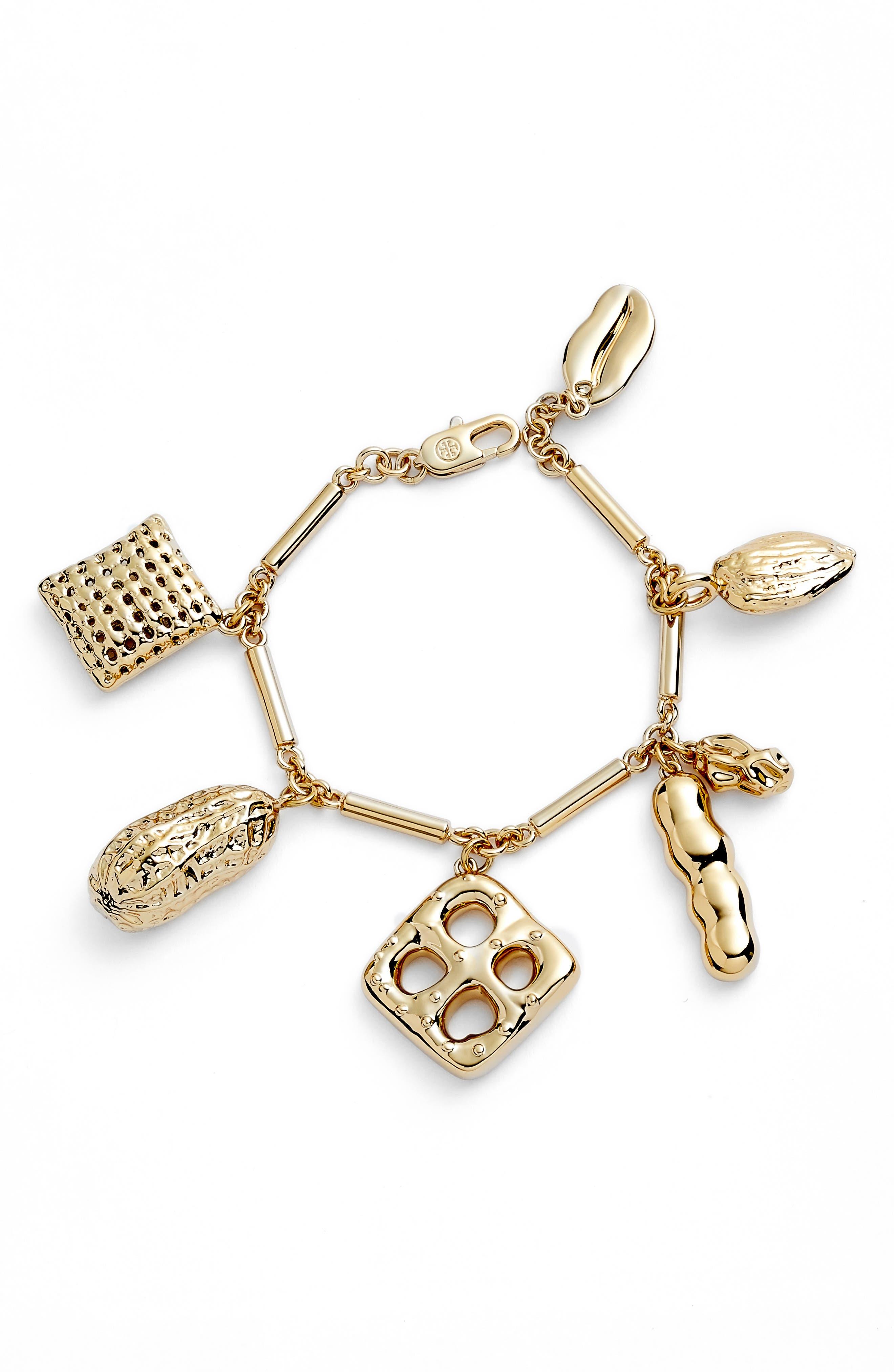 Snack Charm Bracelet,                             Main thumbnail 1, color,                             Brass