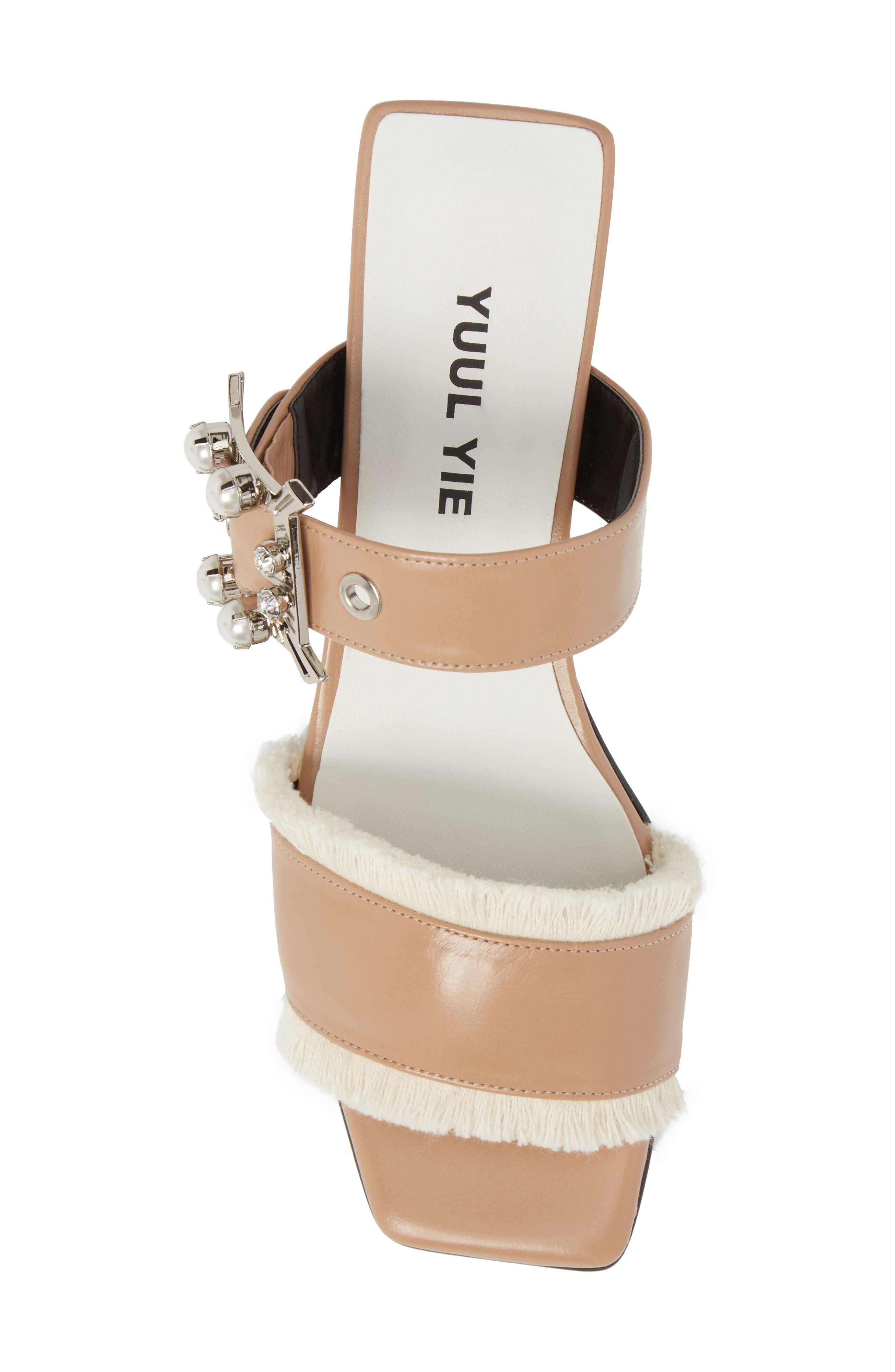 Embellished Slide Sandal,                             Alternate thumbnail 5, color,                             Skin Beige