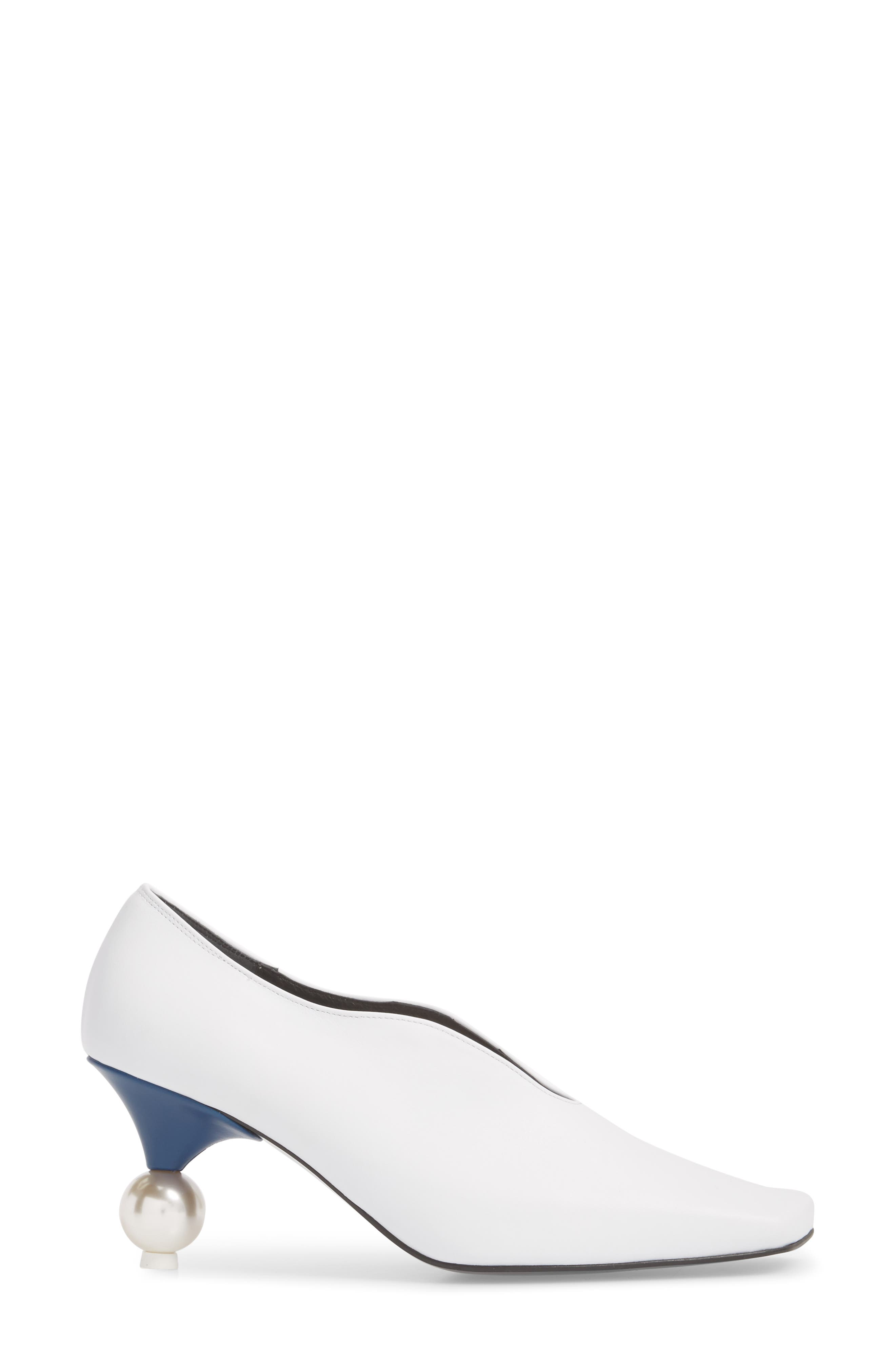 Statement Heel Pump,                             Alternate thumbnail 3, color,                             White/ Navy