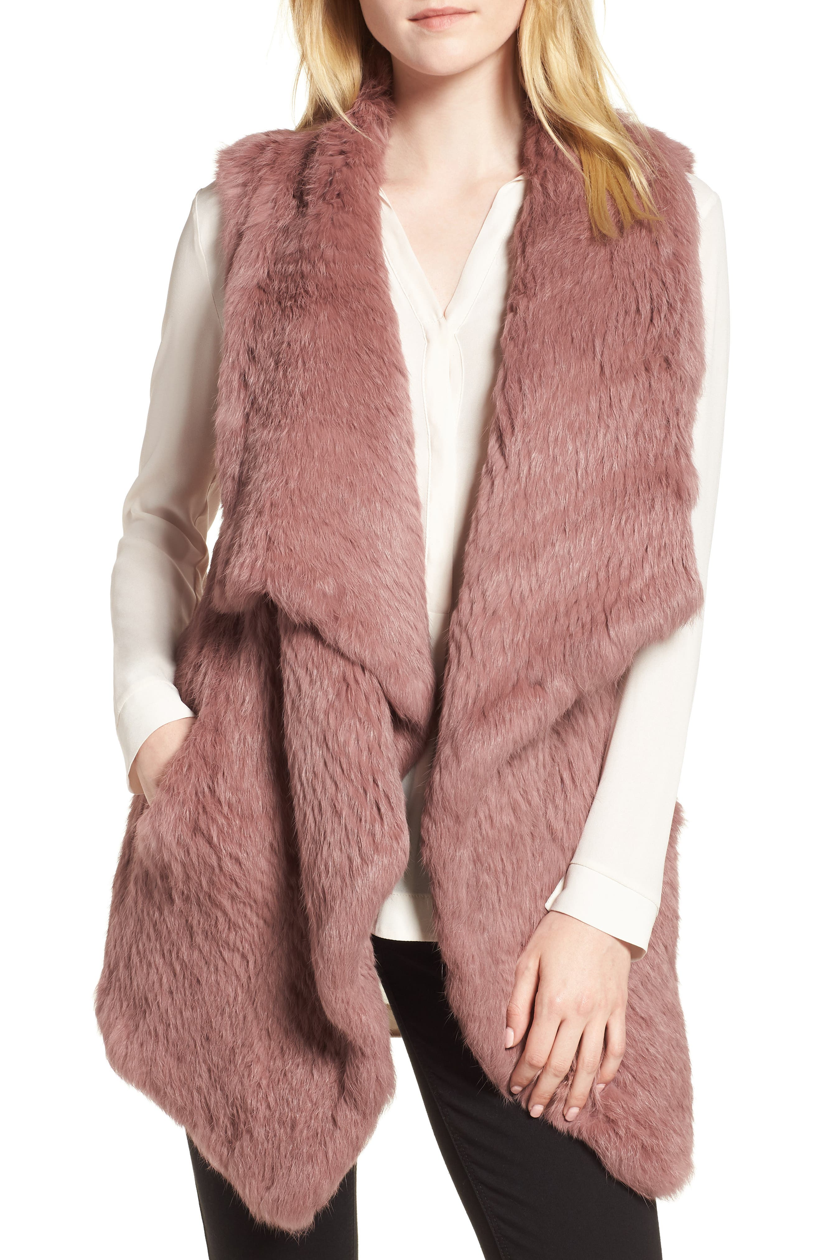 Long Drape Genuine Rabbit Fur Vest,                         Main,                         color, Rose