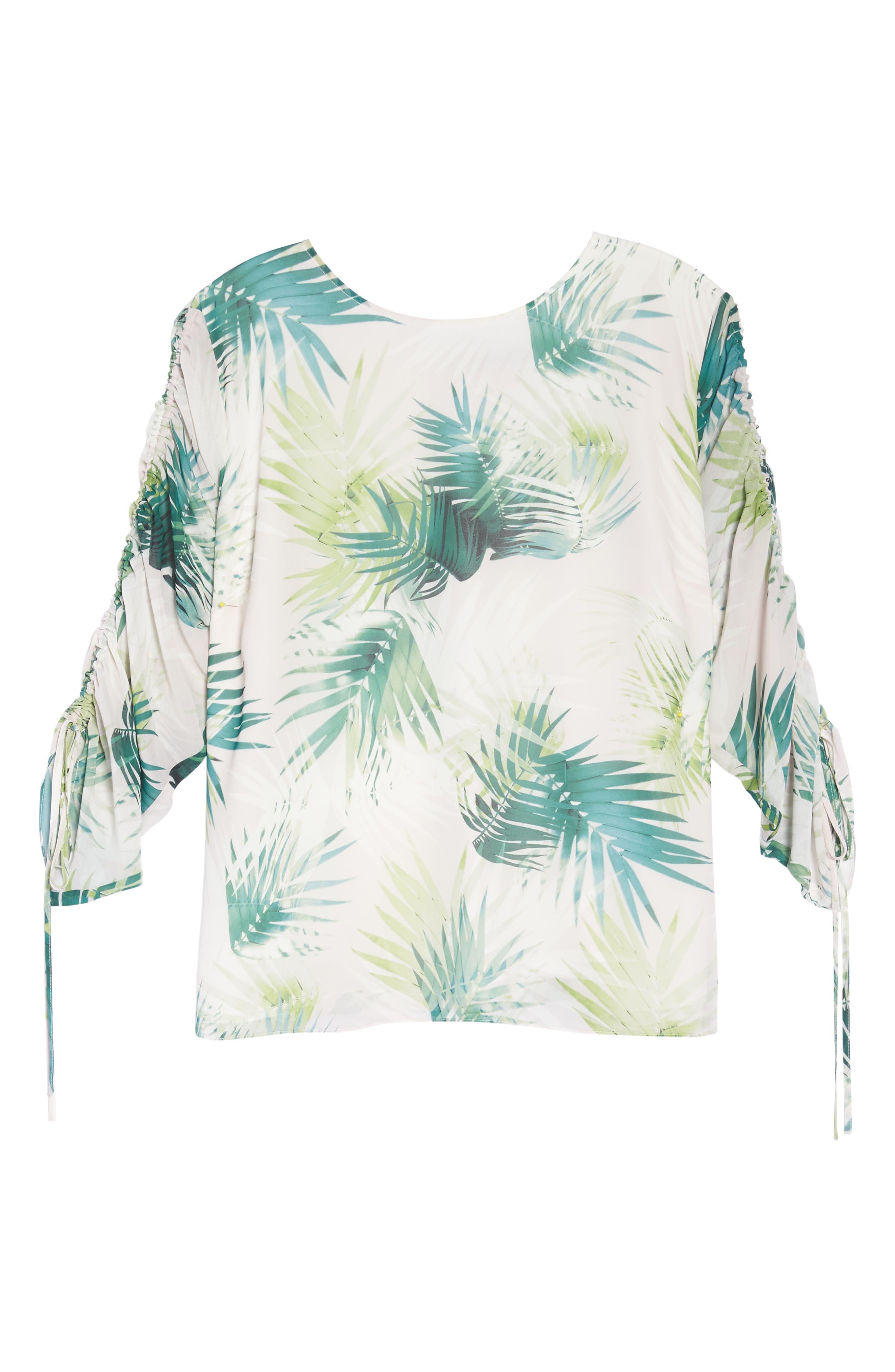 Drawstring Sleeve Sunlit Palm Print Top,                             Alternate thumbnail 7, color,                             Verdant Green