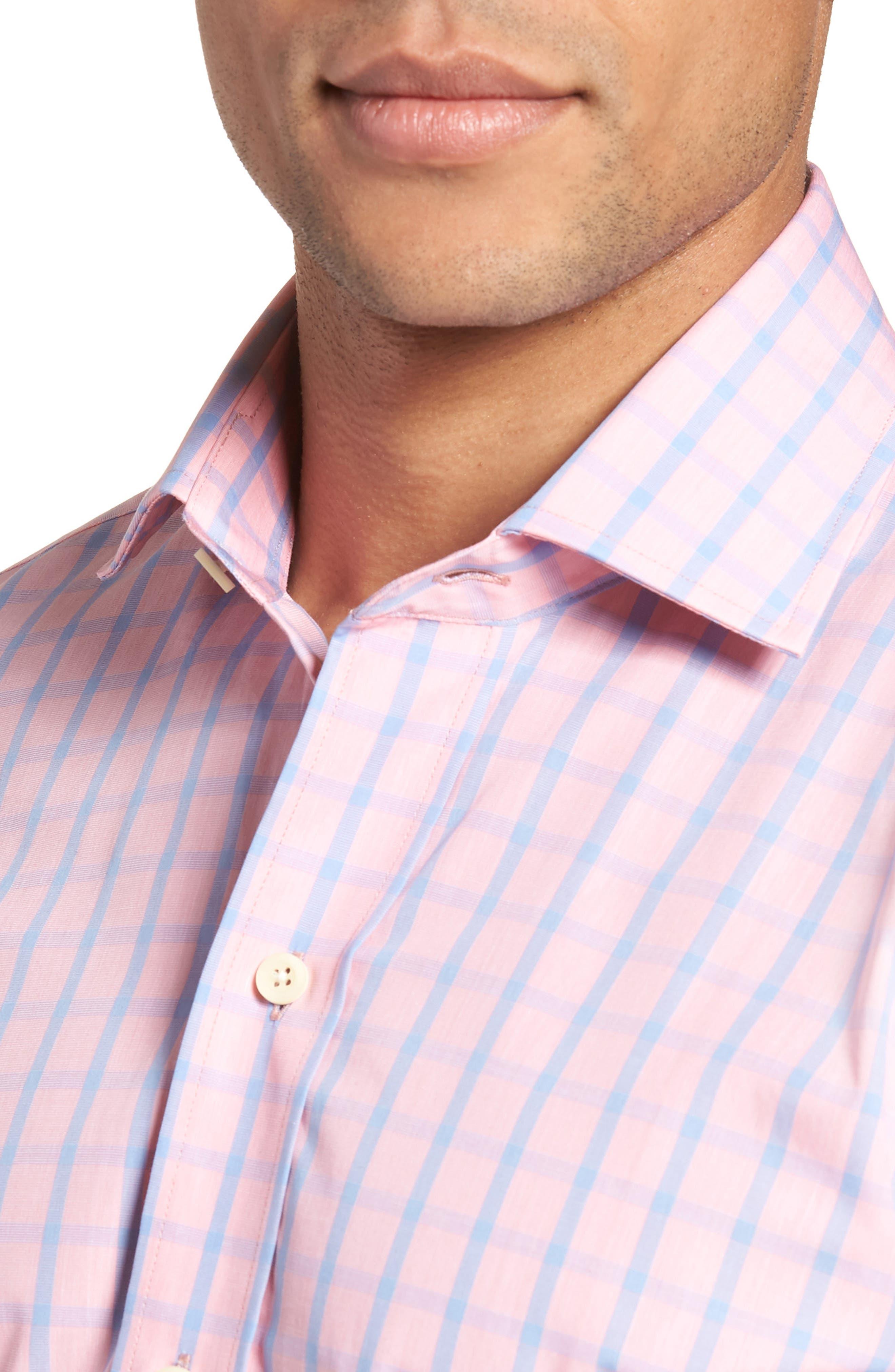 Hayden Trim Fit Windowpane Dress Shirt,                             Alternate thumbnail 4, color,                             Salmon