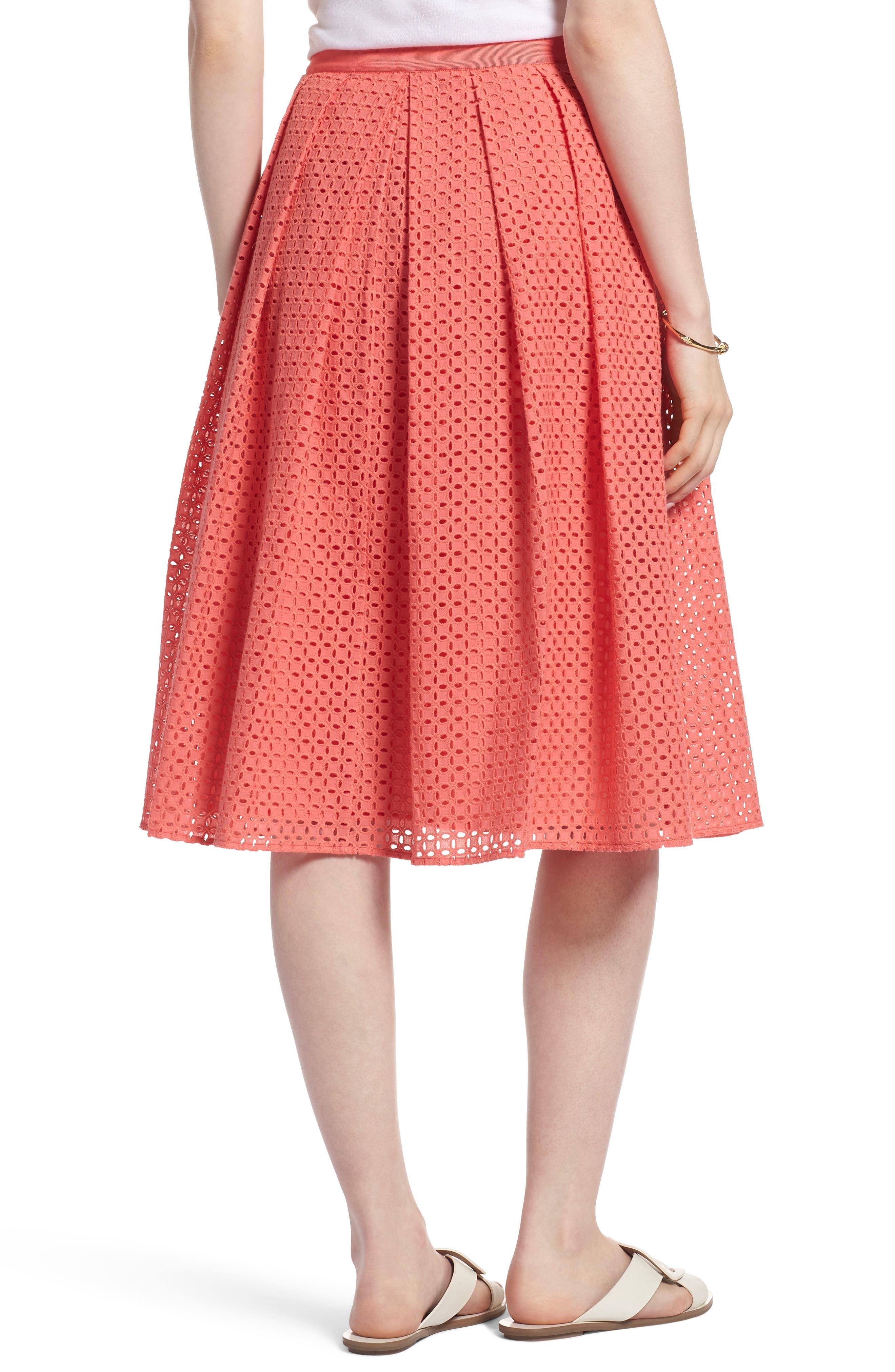 Eyelet A-Line Skirt,                             Alternate thumbnail 2, color,                             Coral Sugar