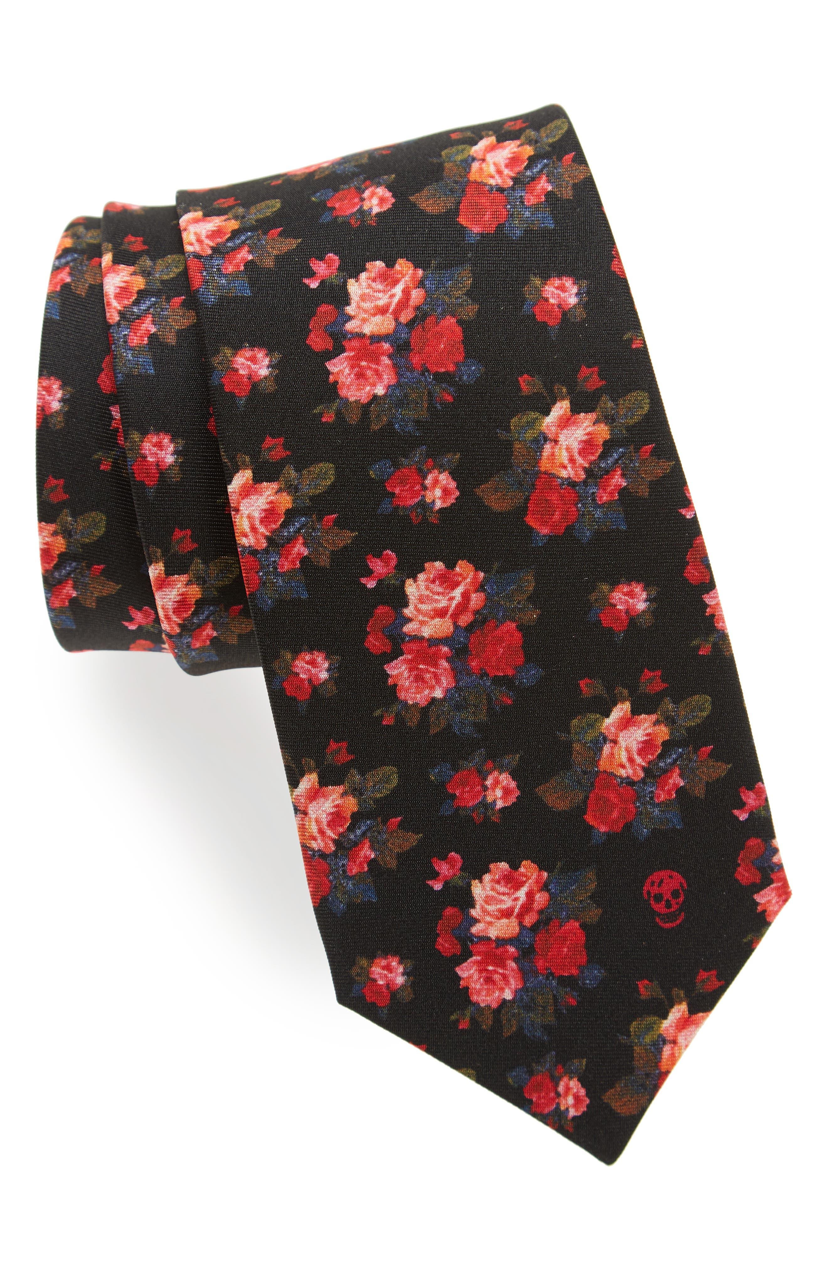 Alexander McQueen Painted Roses Silk Tie