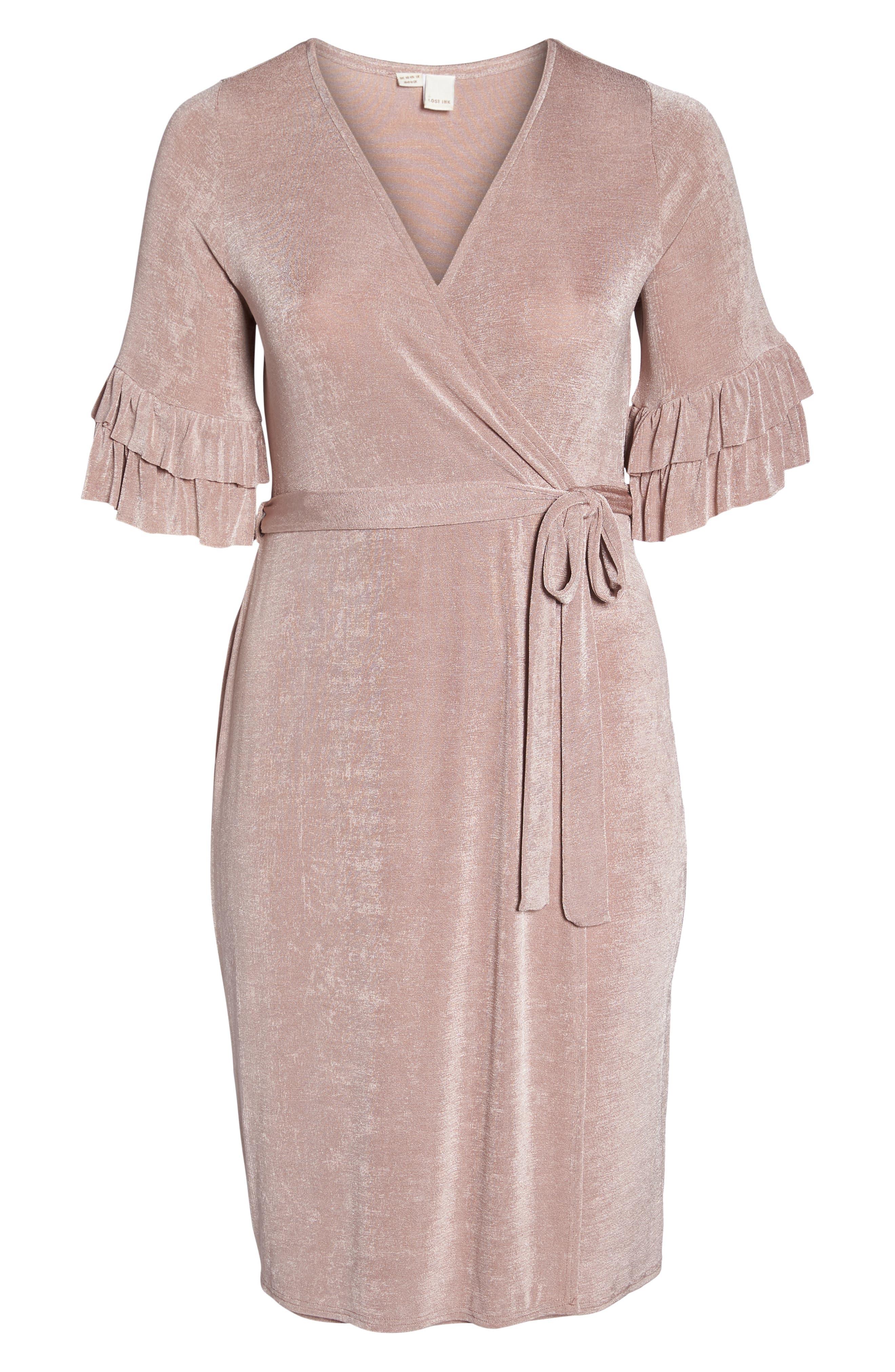 Wrap Dress,                             Alternate thumbnail 7, color,                             Blush
