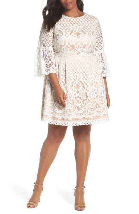 1bb614f4629a5 Eliza J Bell Sleeve Lace Fit   Flare Dress (Plus Size)