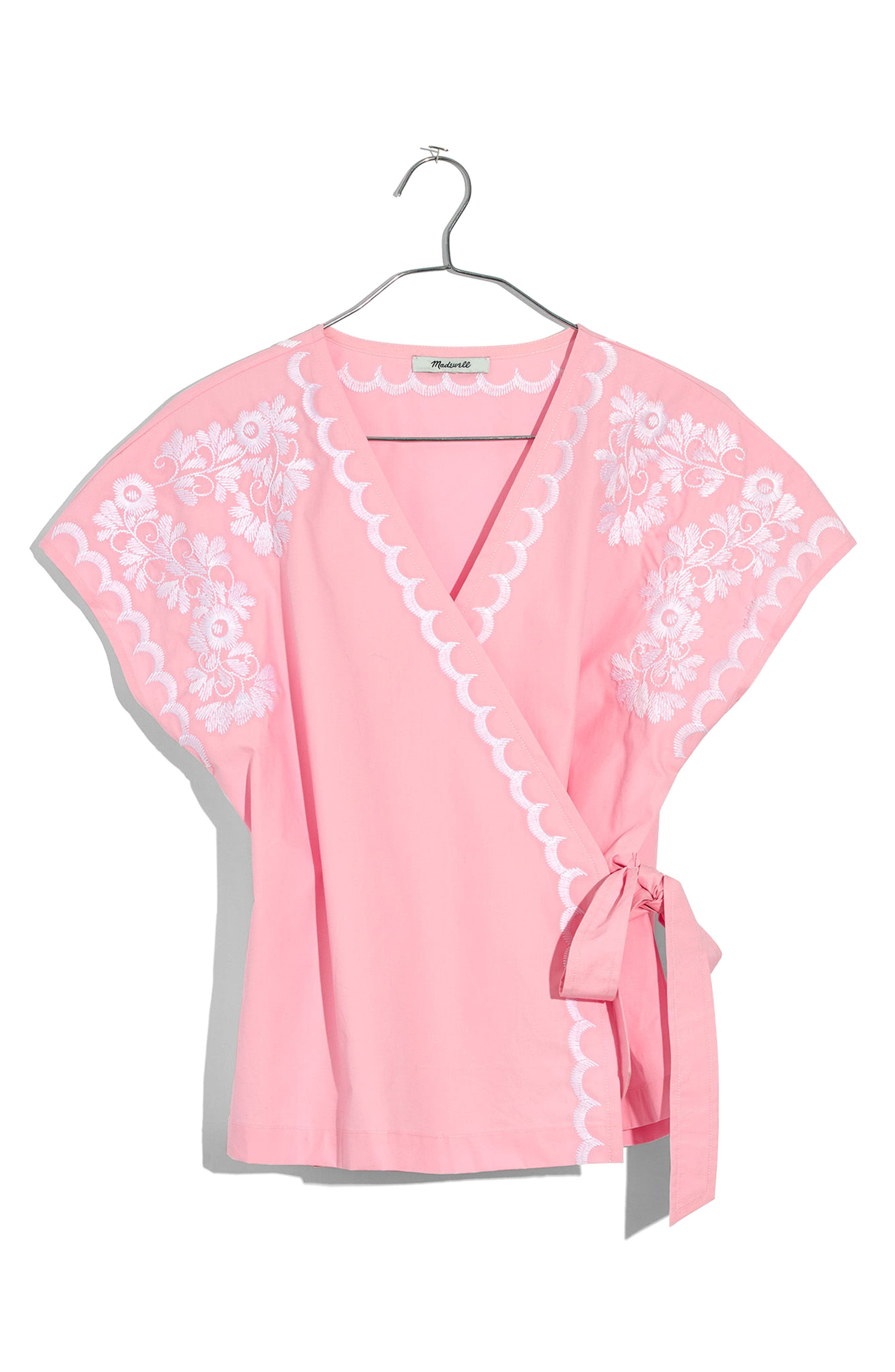Embroidered Kimono Wrap Top,                             Main thumbnail 1, color,                             Petal Pink