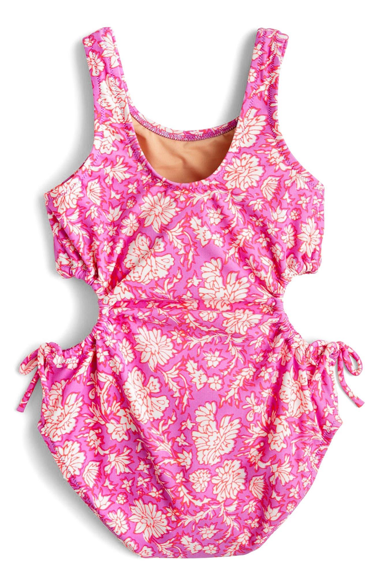 SZ Blockprints<sup>™</sup> Floral One-Piece Swimsuit,                             Alternate thumbnail 2, color,                             Ivory Lavender Multi