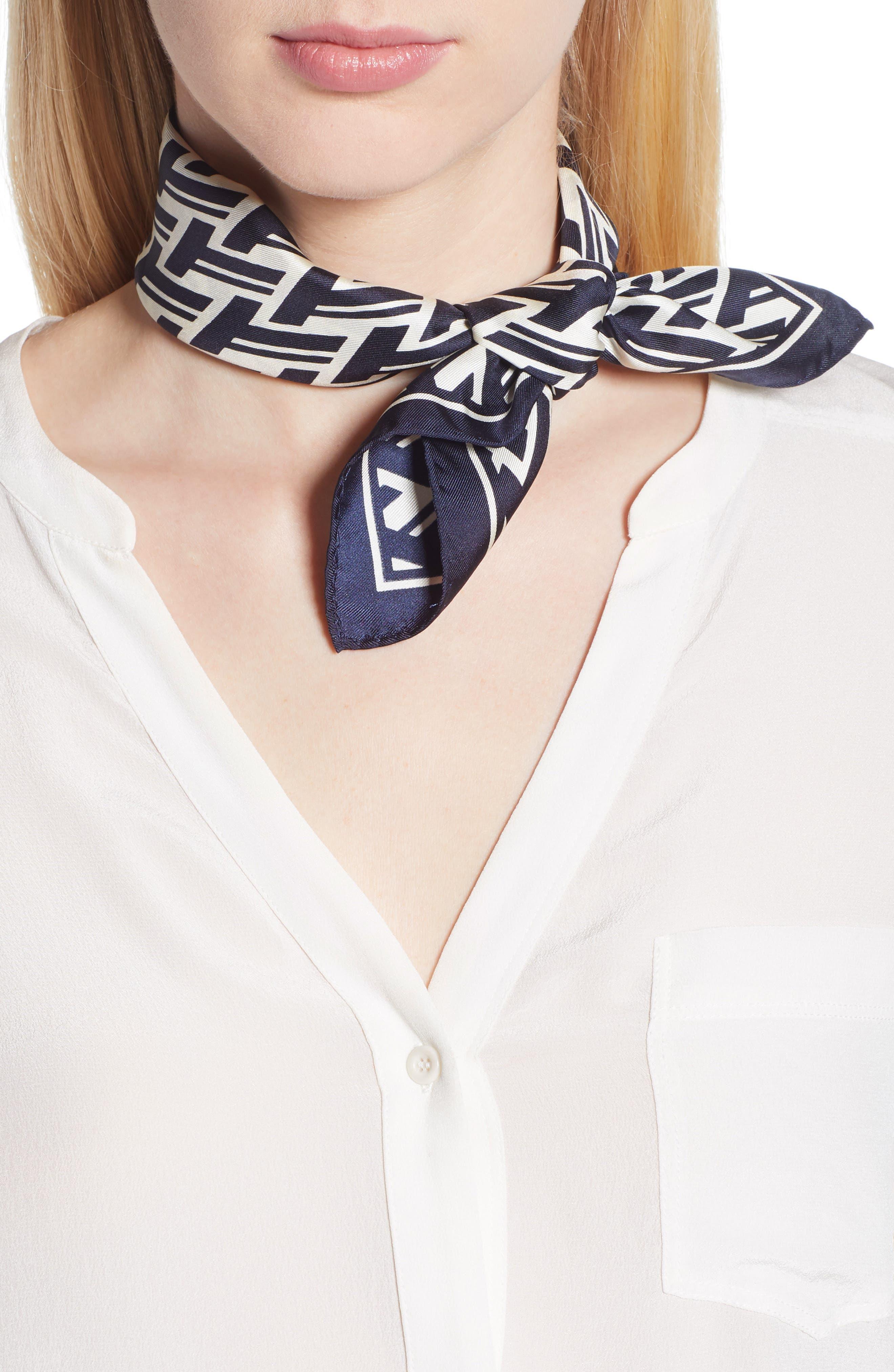 T Lattice Silk Neckerchief,                         Main,                         color, Navy T Lattice