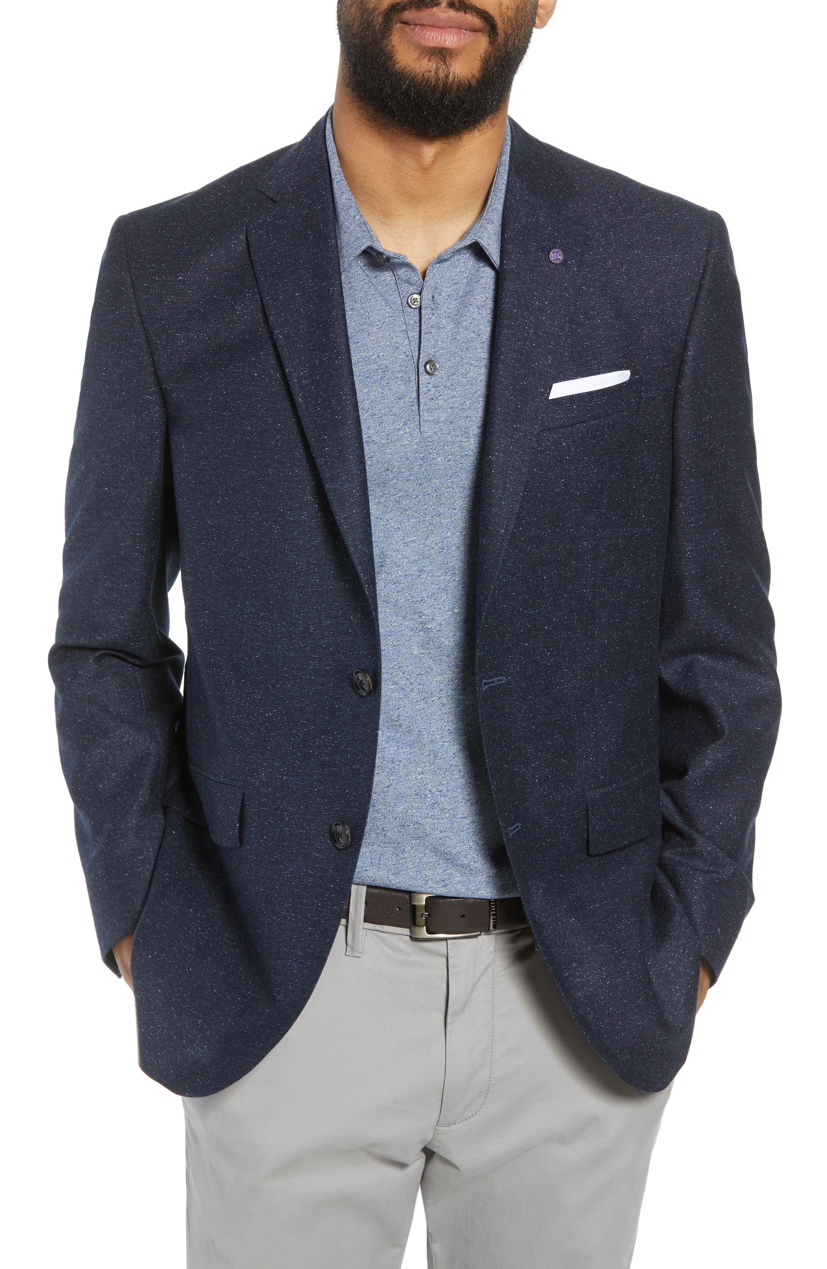 Jay Trim Fit Tweed Wool & Silk Sport Coat,                             Main thumbnail 1, color,                             Blue