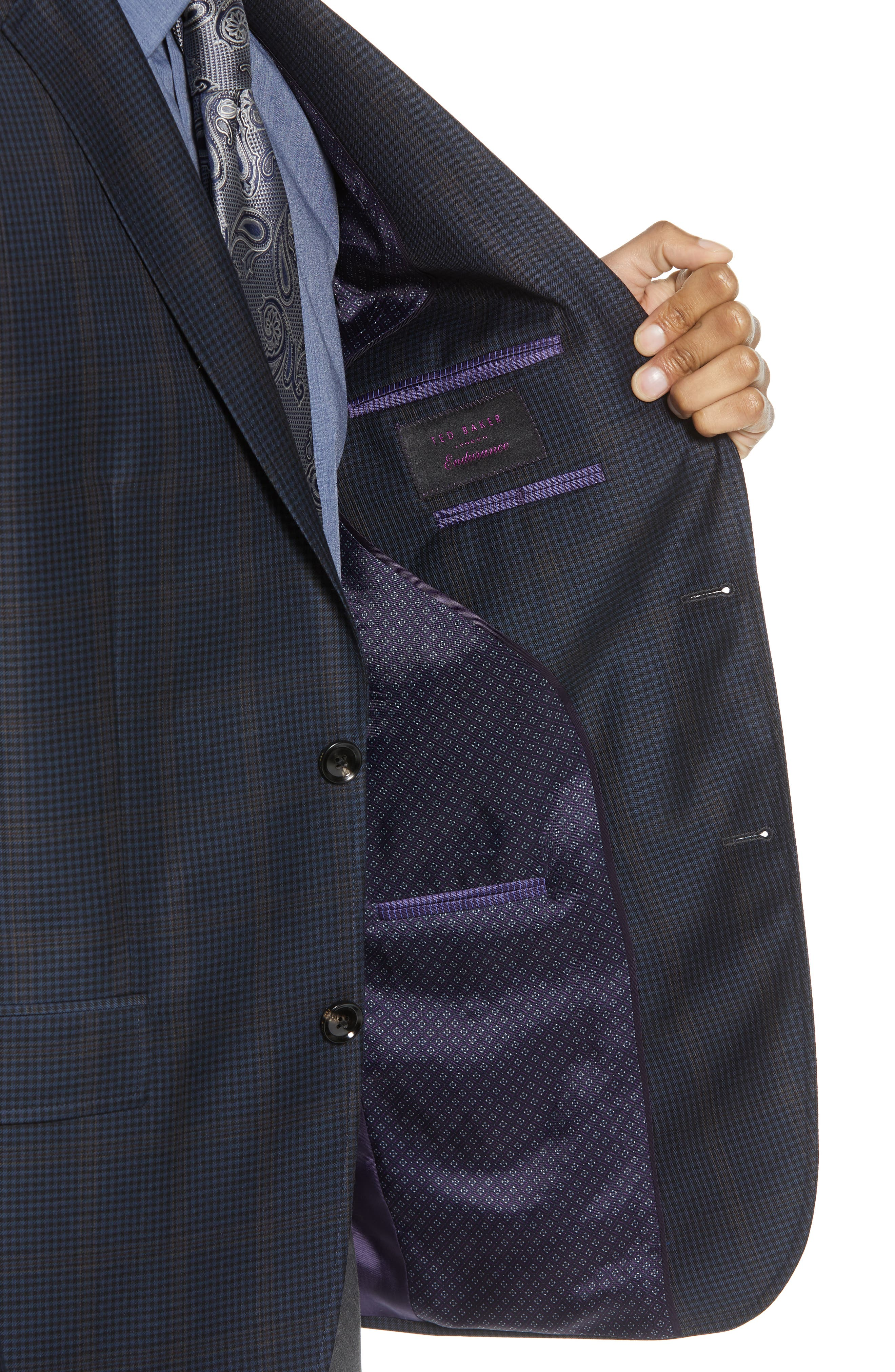 Jay Trim Fit Houndstooth Wool Sport Coat,                             Alternate thumbnail 4, color,                             Blue