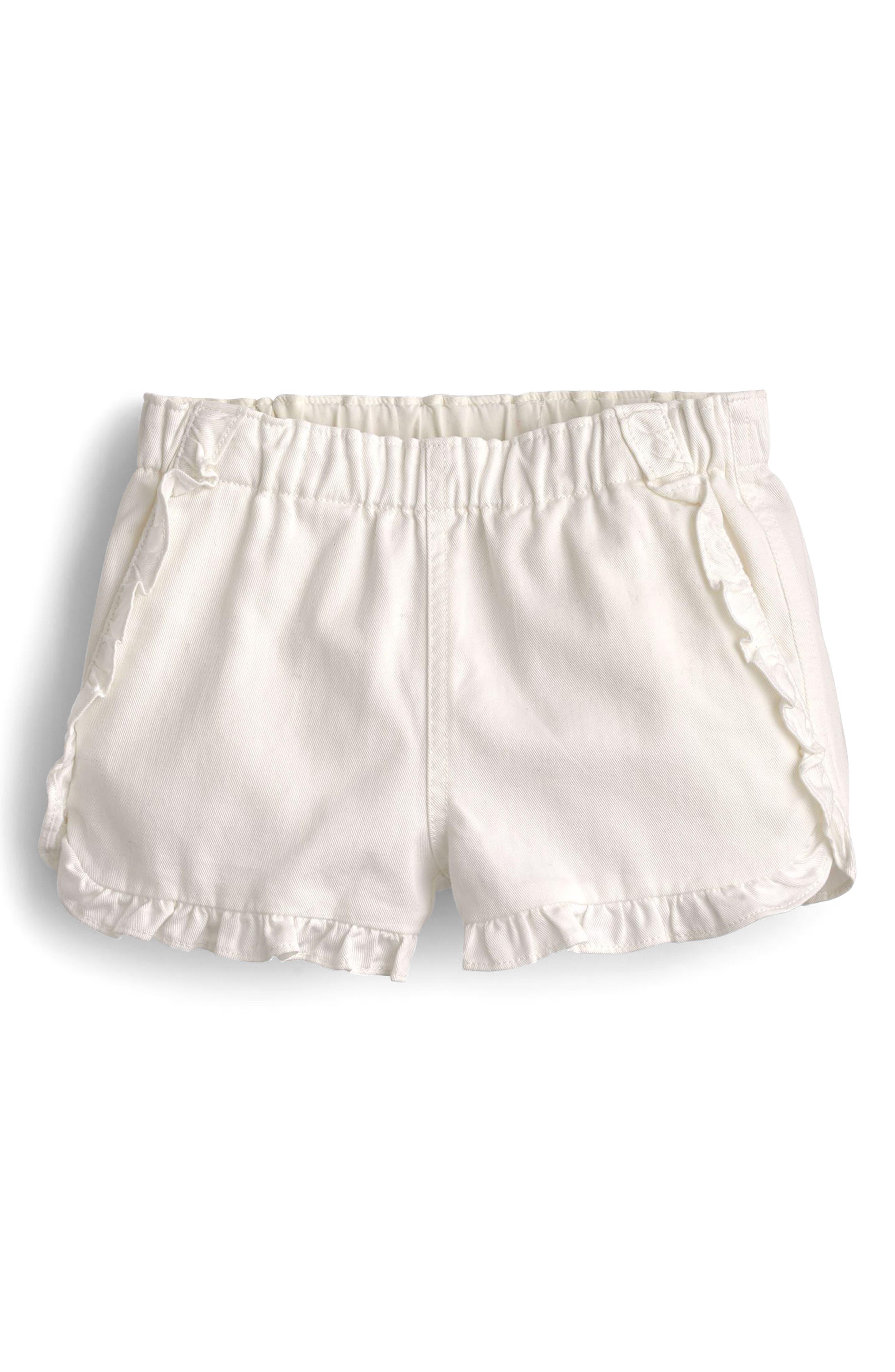 Elsa Ruffle Twill Shorts,                             Main thumbnail 1, color,                             White