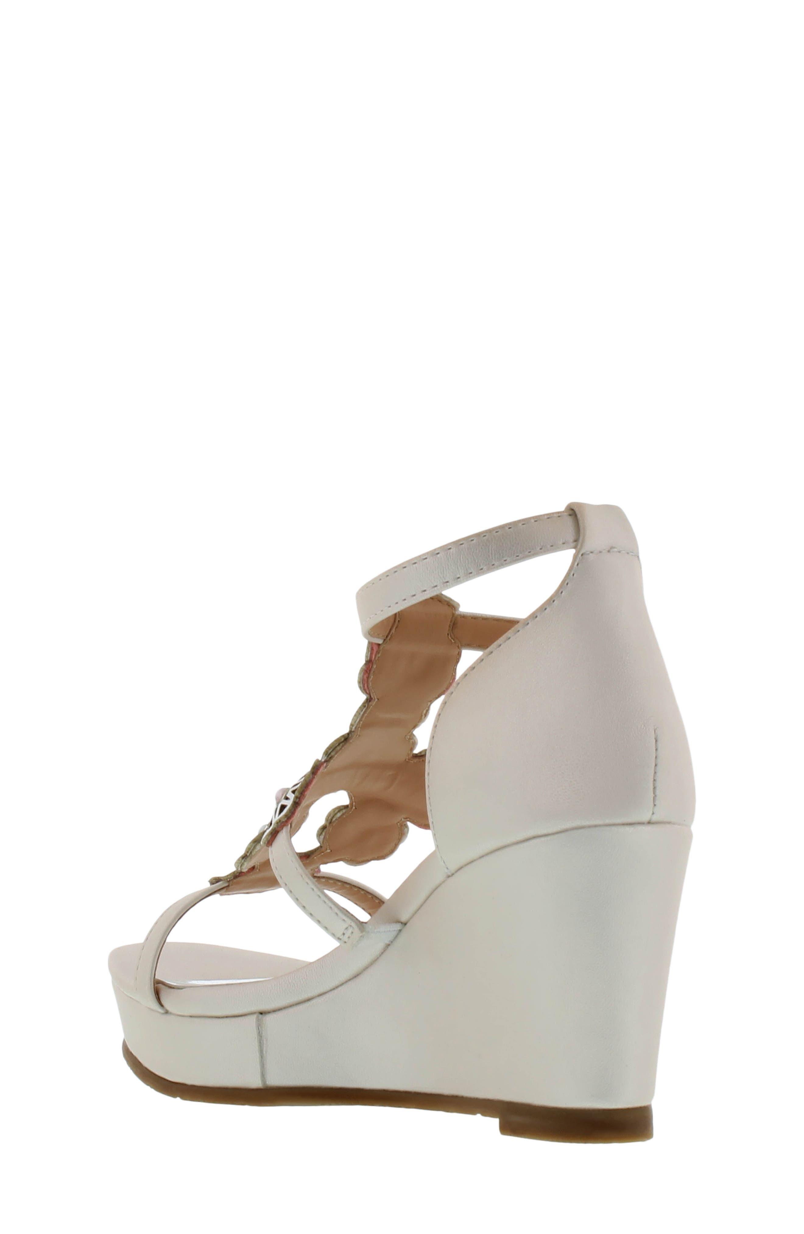 Sophia Flora Wedge Sandal,                             Alternate thumbnail 2, color,                             Pearlized White Multi