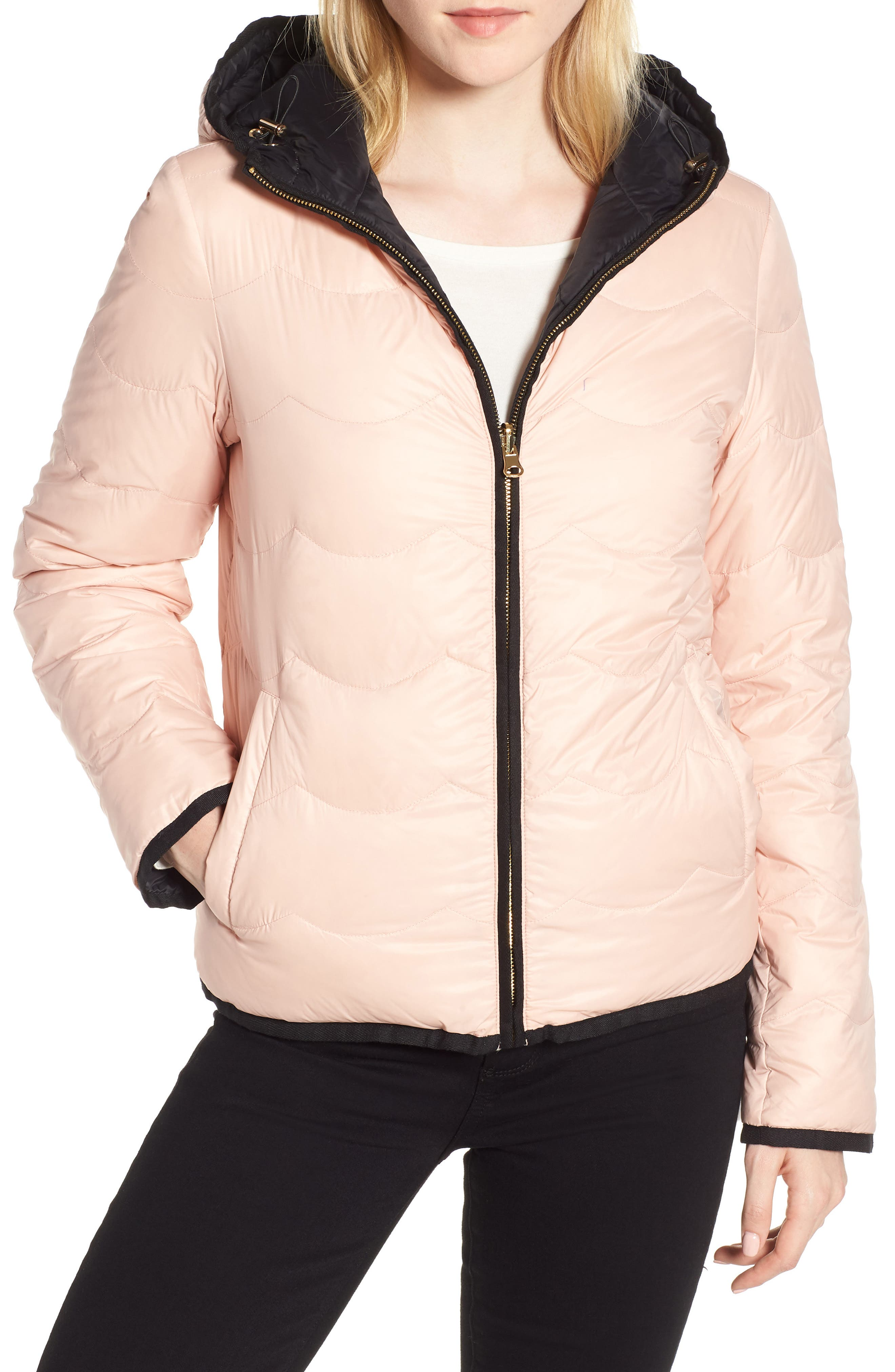 reversible quilted down jacket,                         Main,                         color, Black/ Cameo Pink
