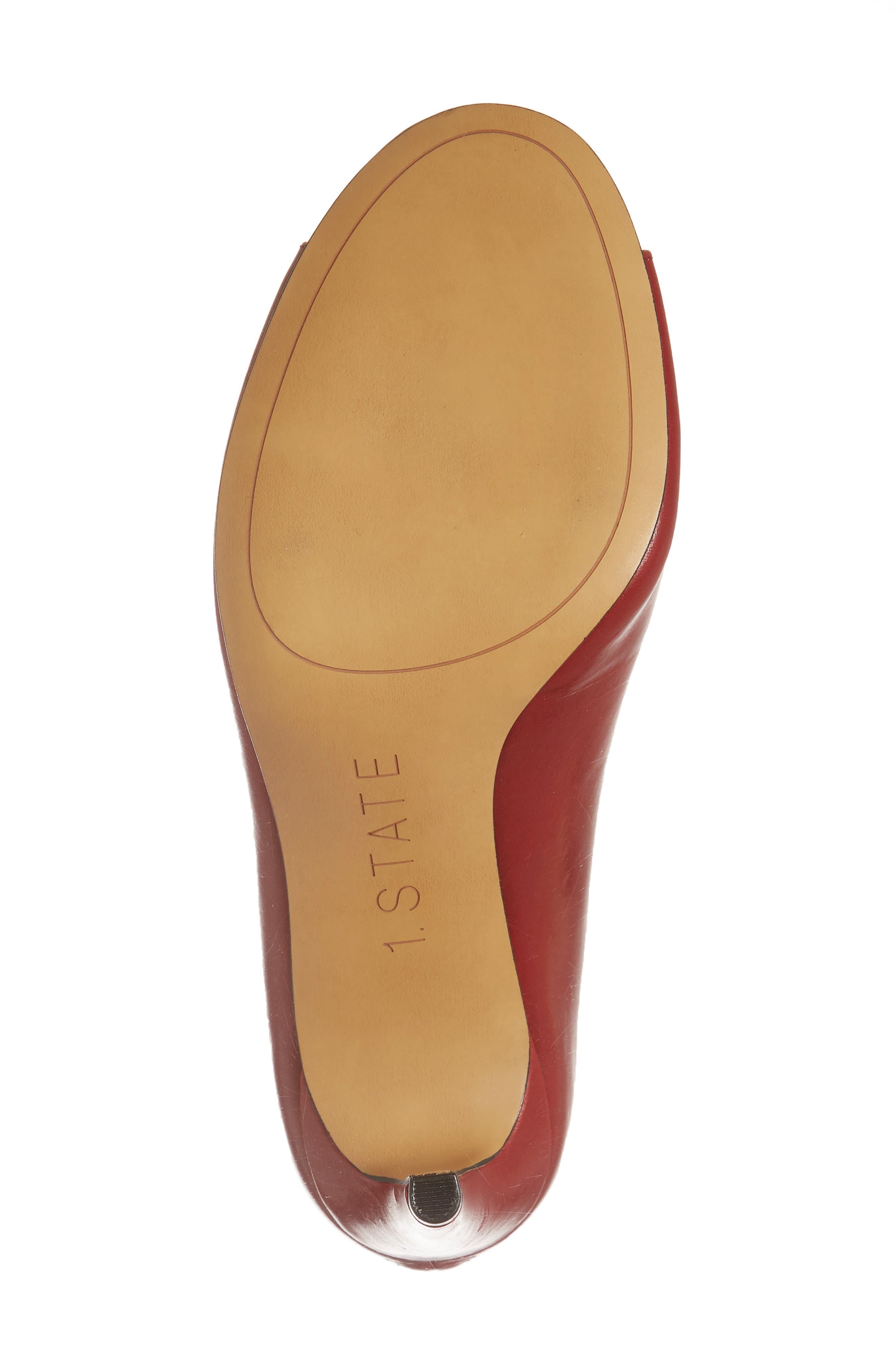 1. STATE Sall Ankle Strap Open Toe Pump,                             Alternate thumbnail 6, color,                             Scarlet Leather