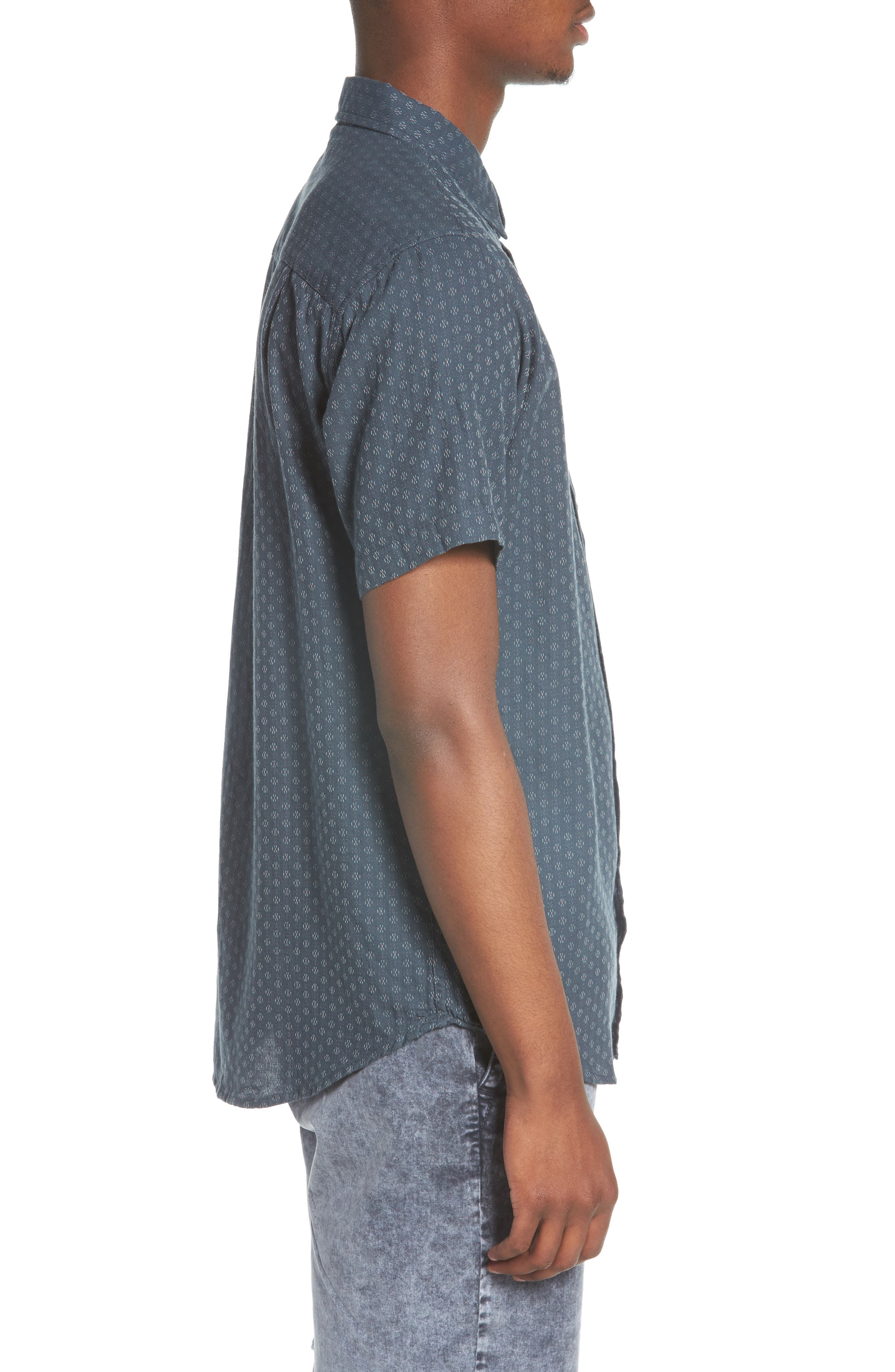 Circuit Woven Shirt,                             Alternate thumbnail 4, color,                             Dark Teal